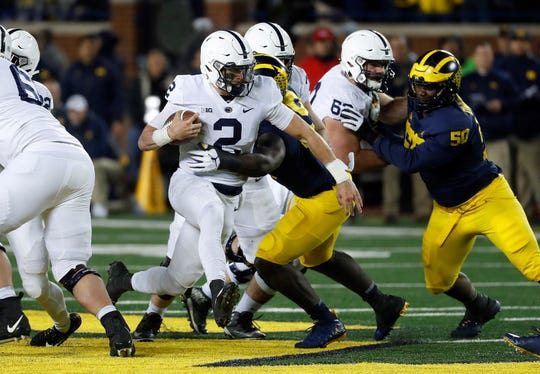 Tommy Stevens, seen here in action last season vs. Michigan, is expected to succeed Trace McSorley as Penn State's starting quarterback. AP FILE PHOTO
