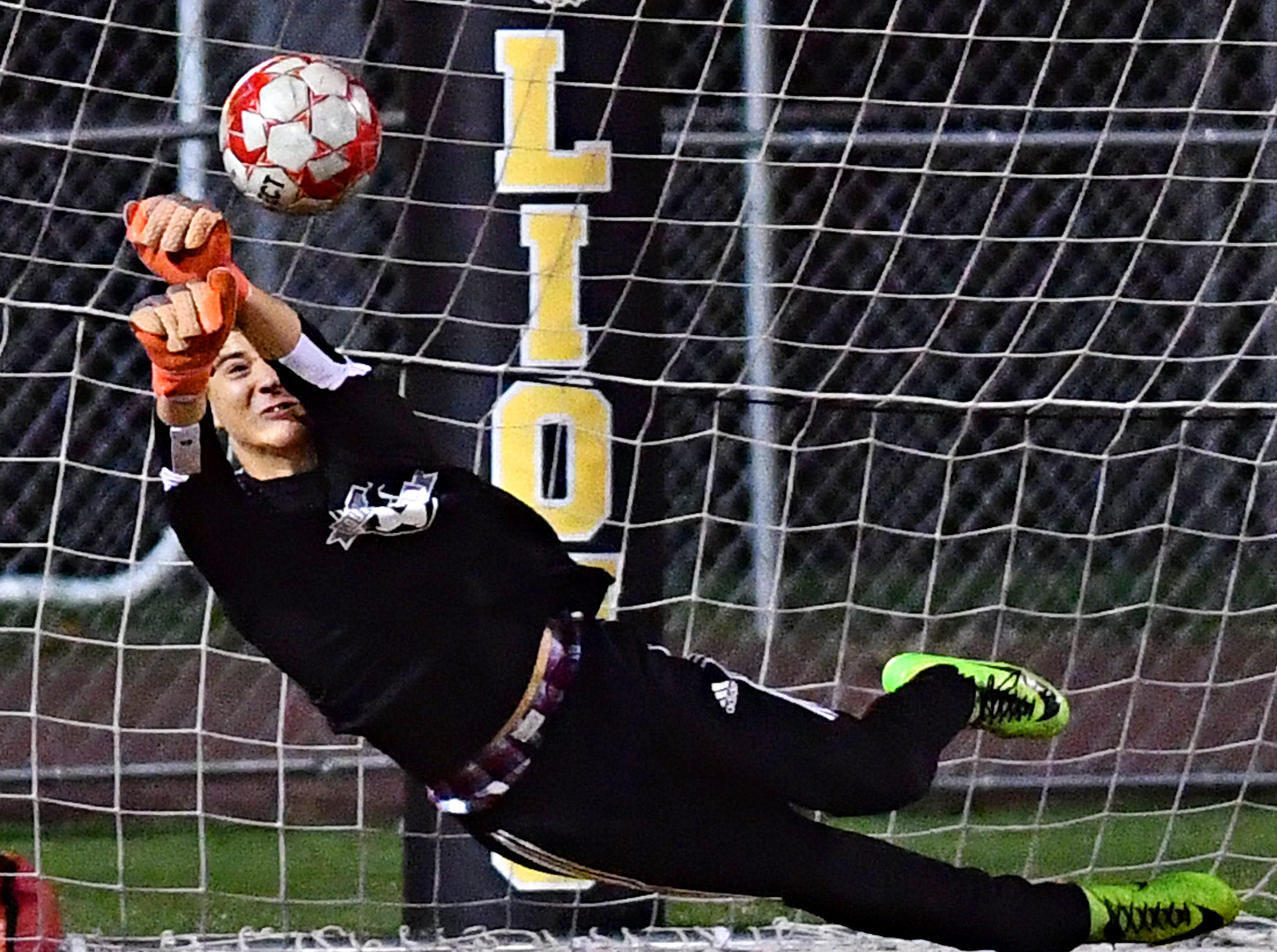South Western's Joe Stevenson stops the ball as athletes compete during the YAIAA Boys' Soccer Senior All Star Game action at Horn Field in Red Lion, Wednesday, Nov. 7, 2018. Dawn J. Sagert photo