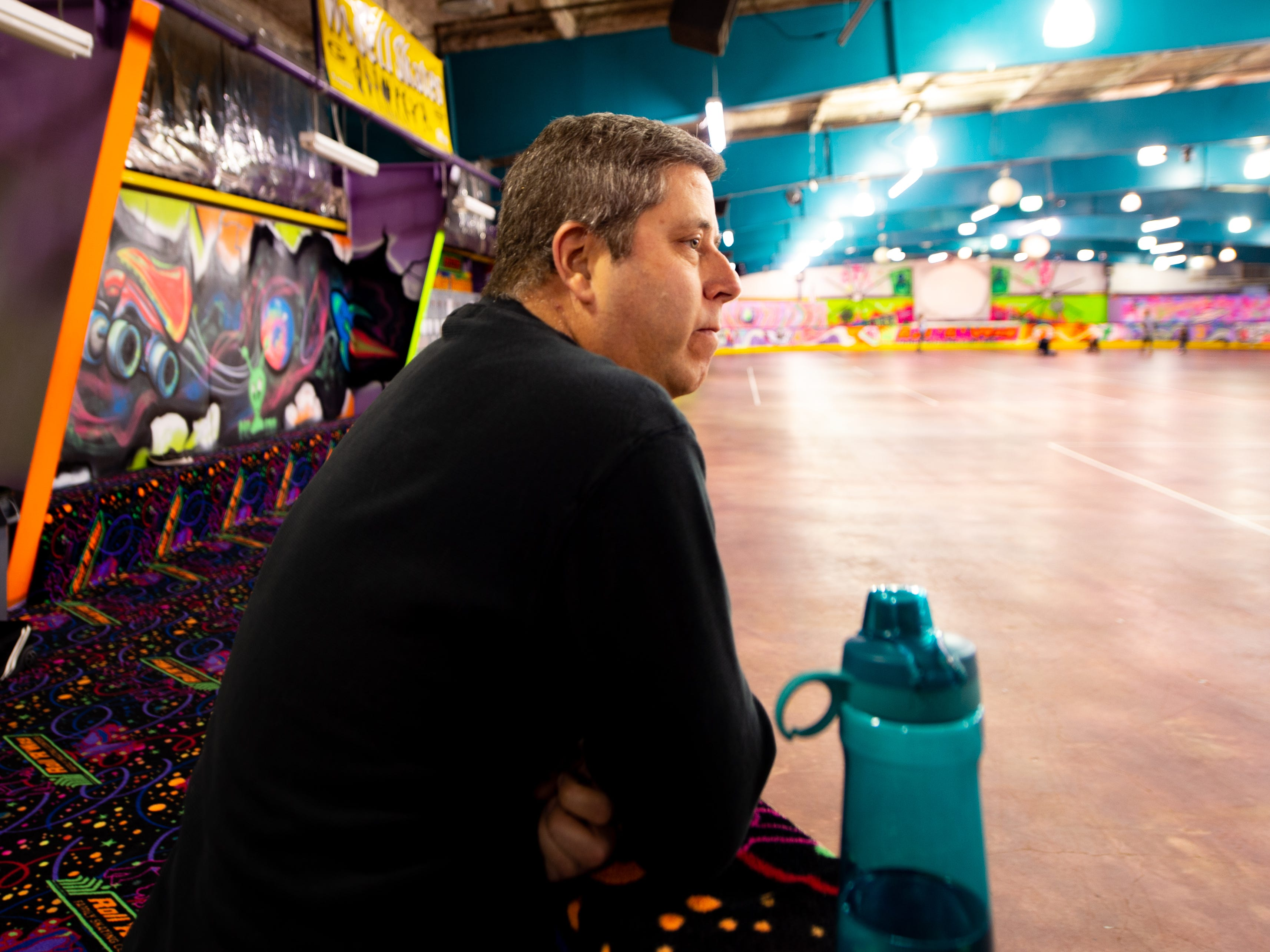 Jim Garrett watches his son, a York City Derby Dames Jr. member, practice at Roll 'R' Way, November 5, 2018.