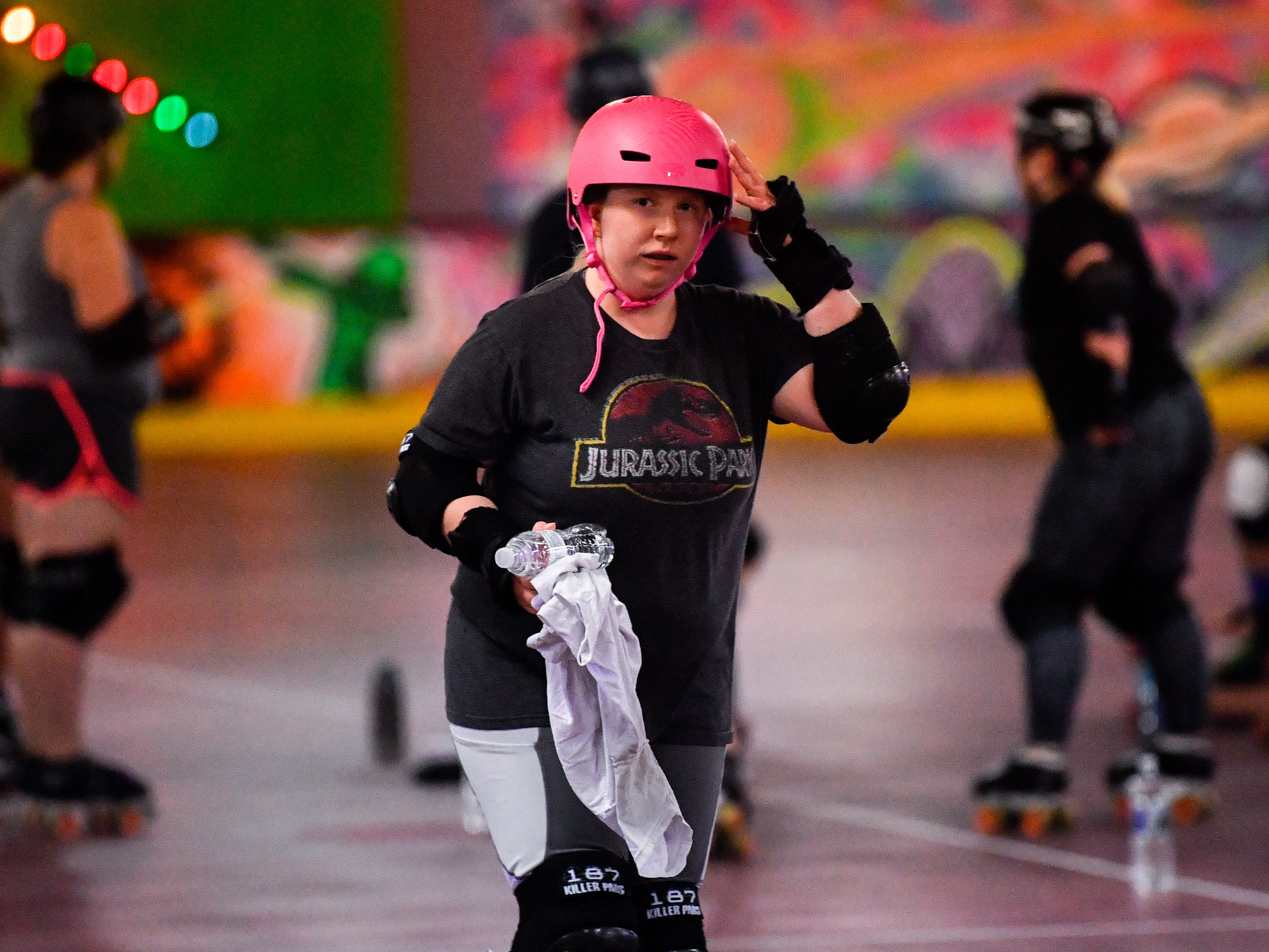 Morgan Frey prepares for the next drill after a water break during the York City Derby Dames practice, October 18, 2018.