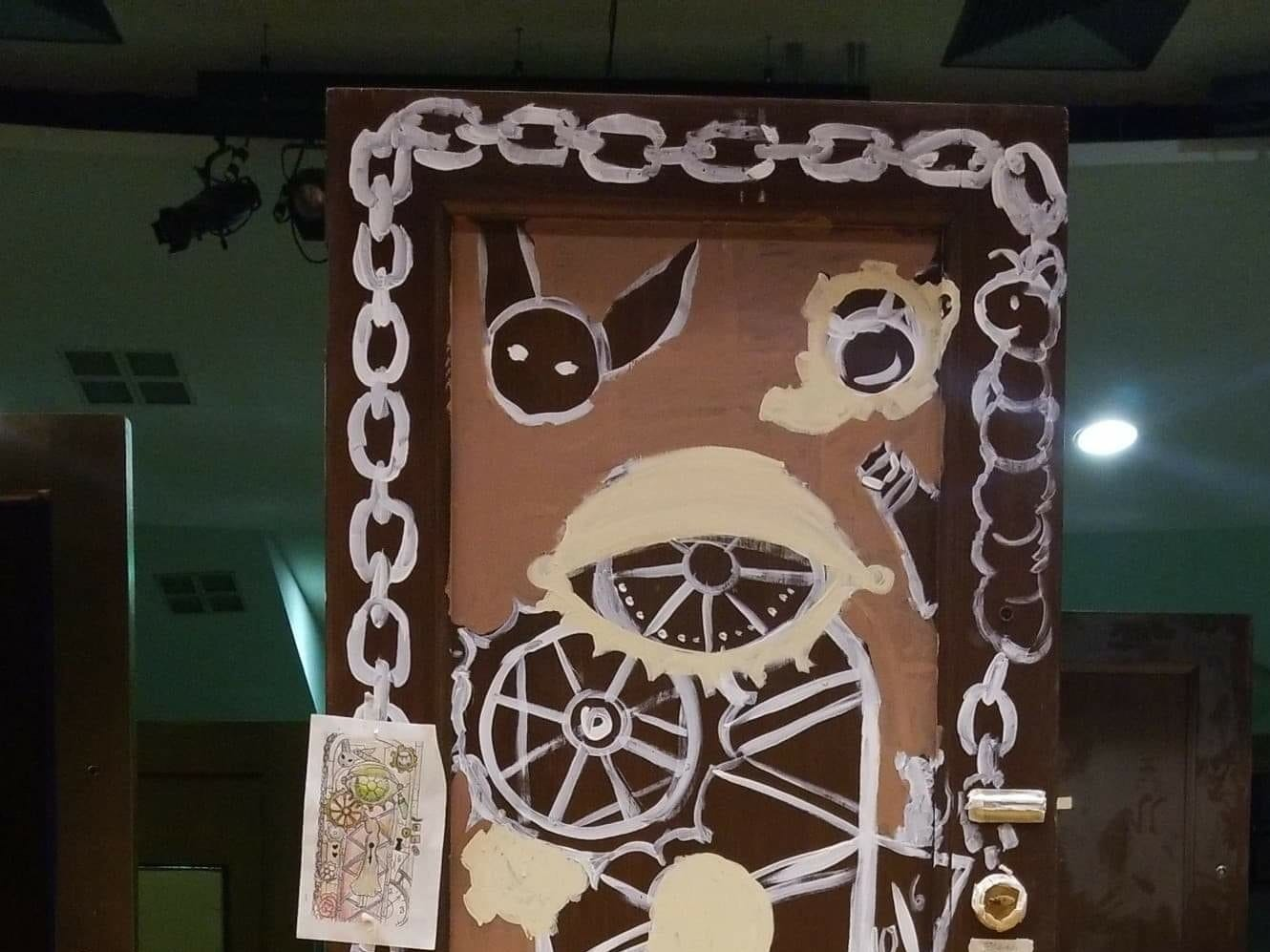 "This is one of the doors salvaged from the Yorktowne Hotel during ongoing renovations. It was designed by students for use in the York County School of Technology's  recent production of ""Alice in Wonderland."""