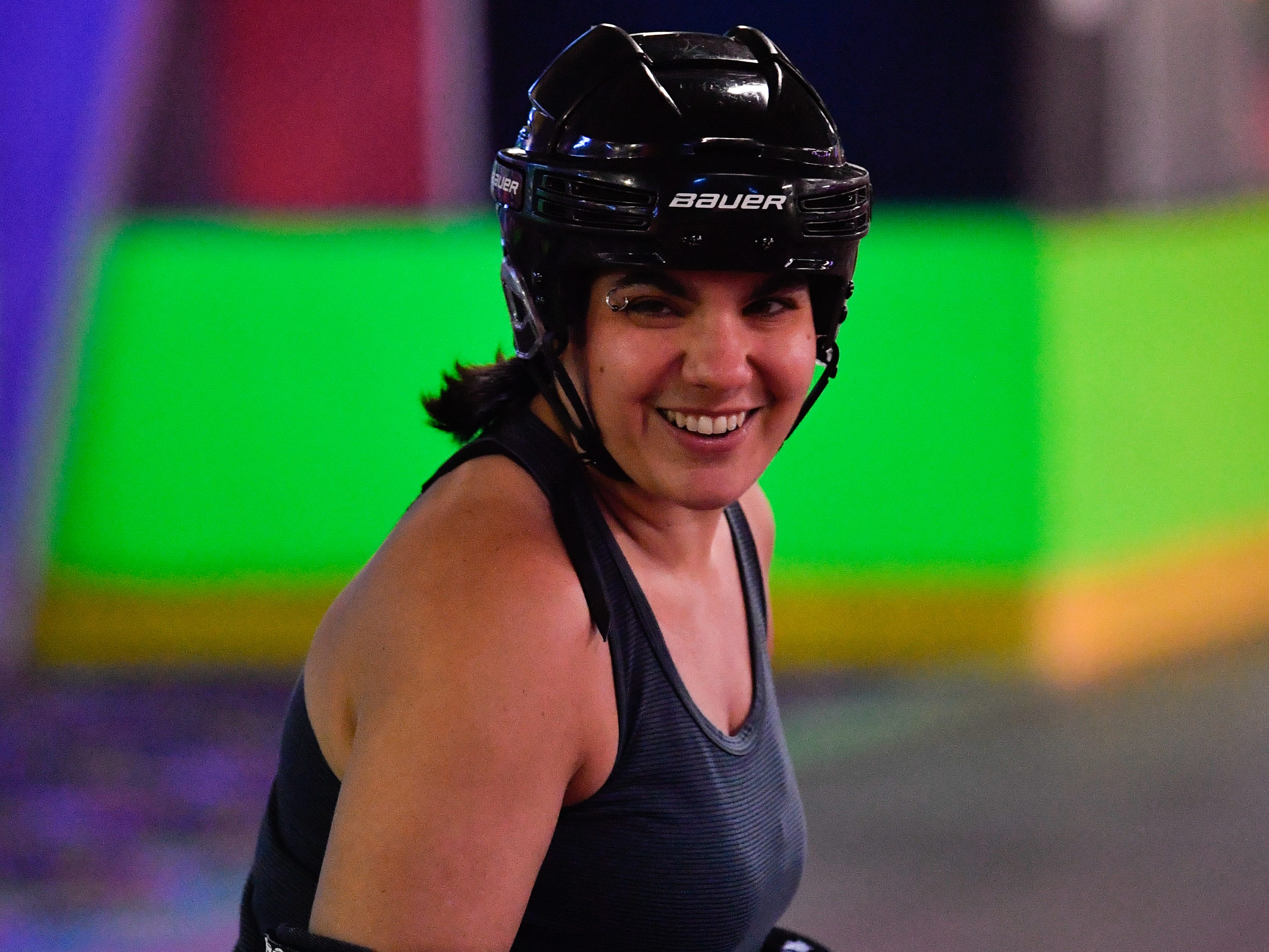 Rachel Shearer warms up during the York City Derby Dames practice at Roll 'R' Way.