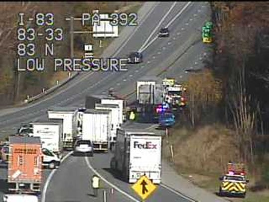 The coroner was called to the scene of an accident I-83 north near the Valley Green exit Thursday morning.