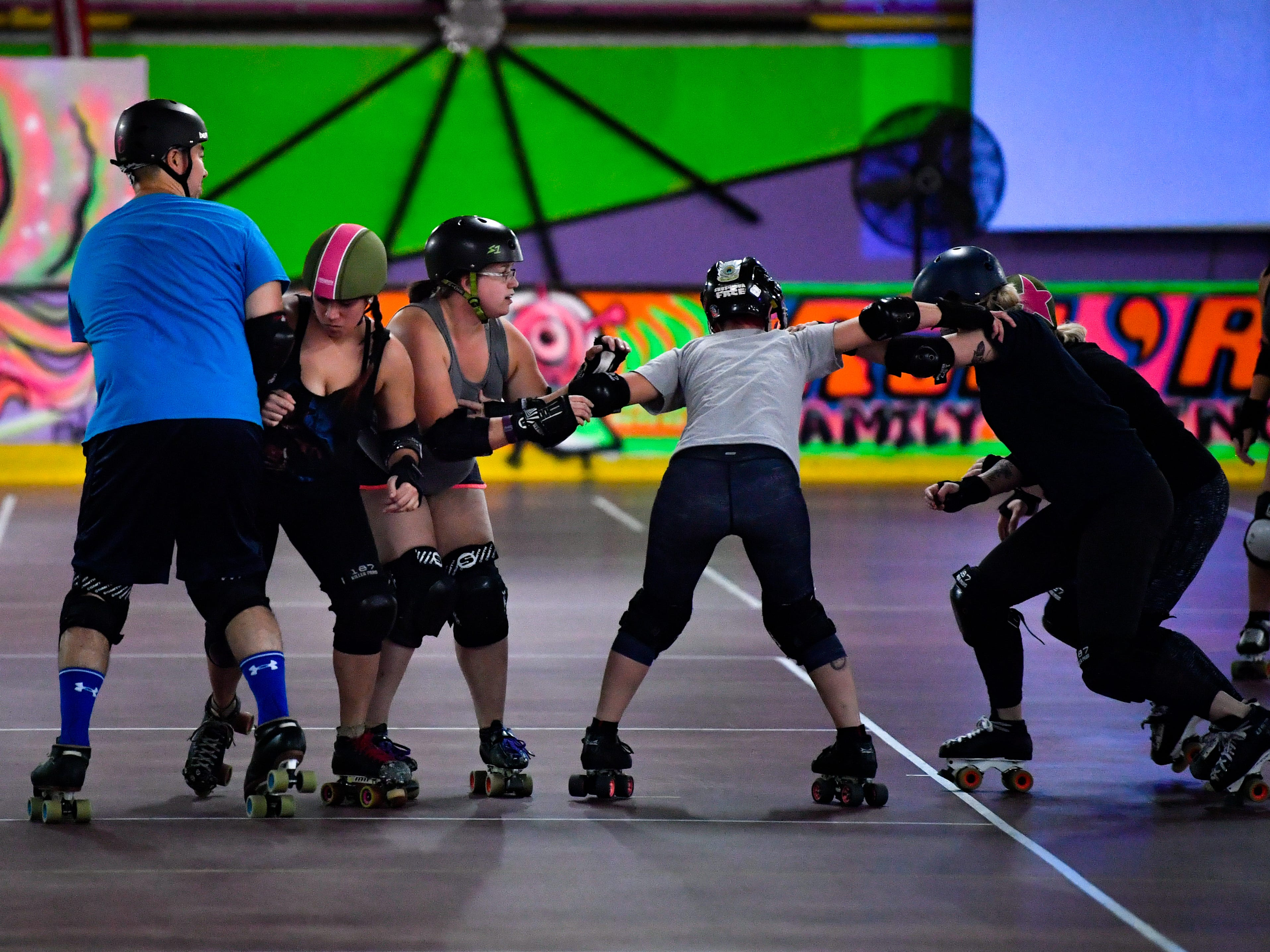 The York City Derby Dames scrimmage each other during practice at Roll 'R' Way. They have been the city's local derby team since 2013. Members come from all over the area to participate.