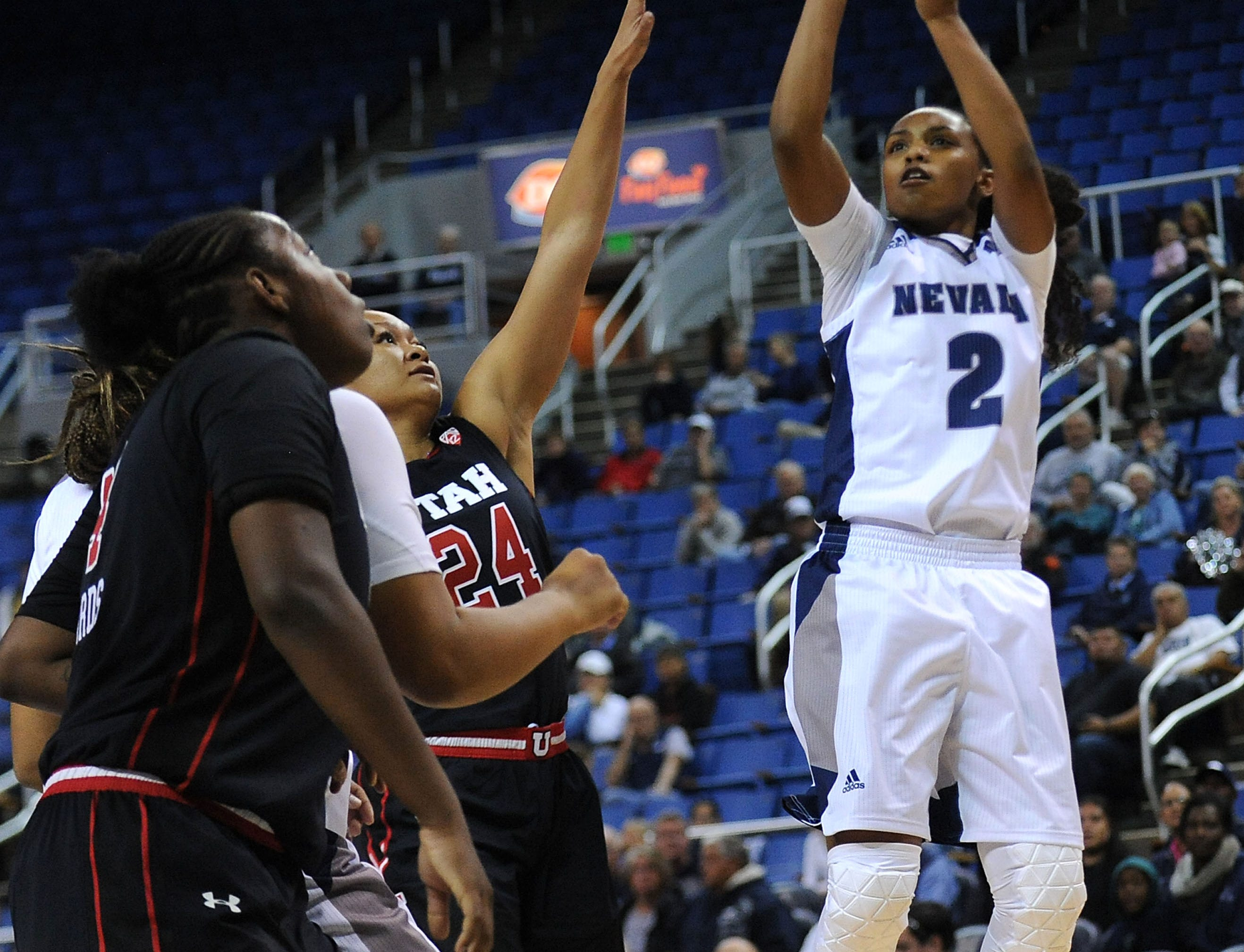 Nevada's Da'Ja Hamilton (2) shoots while taking on Utah during their basketball game at Lawlor Events Center in Reno on Nov. 7, 2018.