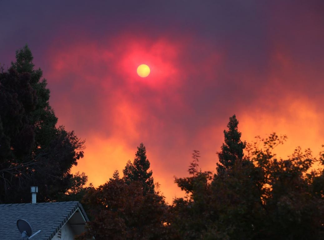 View of Camp Fire burning in Paradise from Chico at 8 a.m. Thursday.