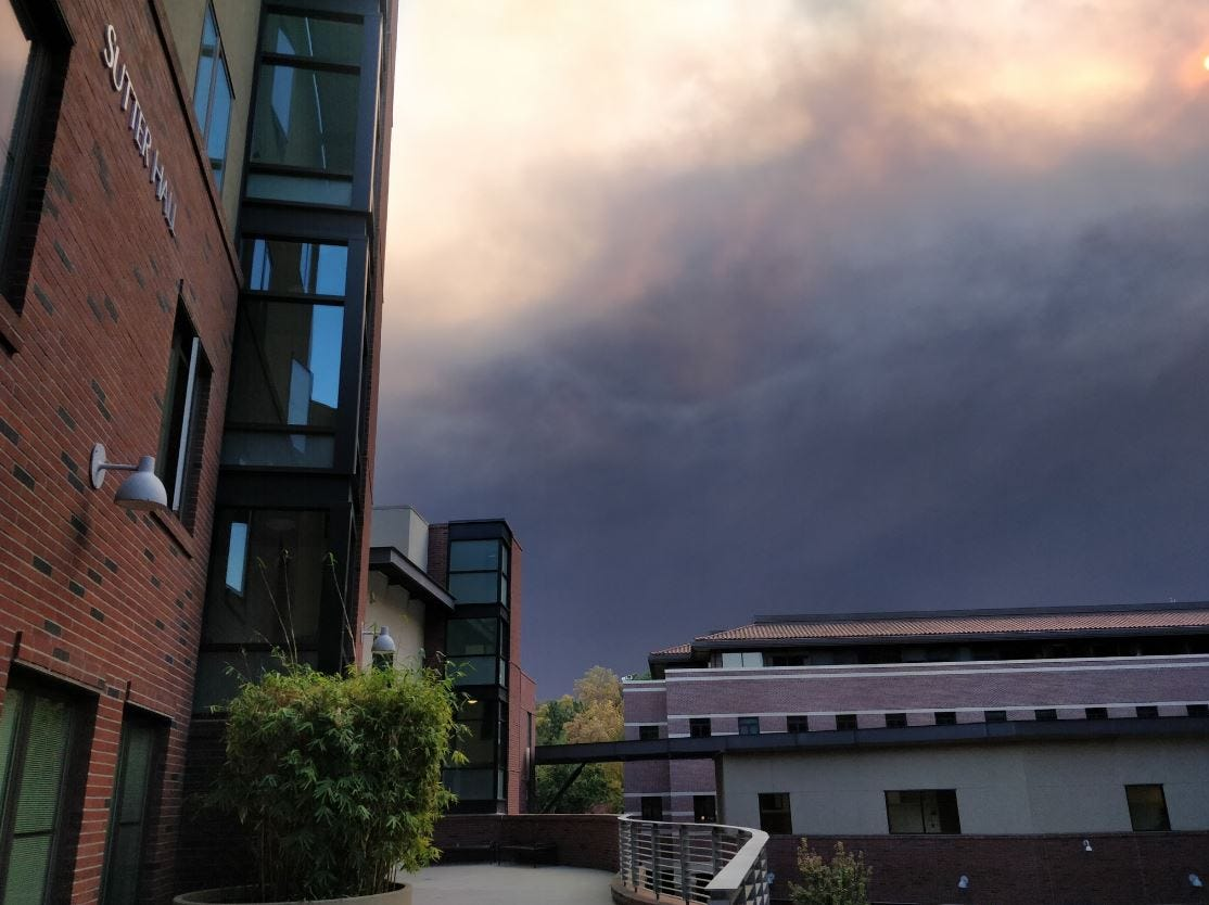 View of the Camp Fire smoke plume from Chico State University 9 to 11 a.m.