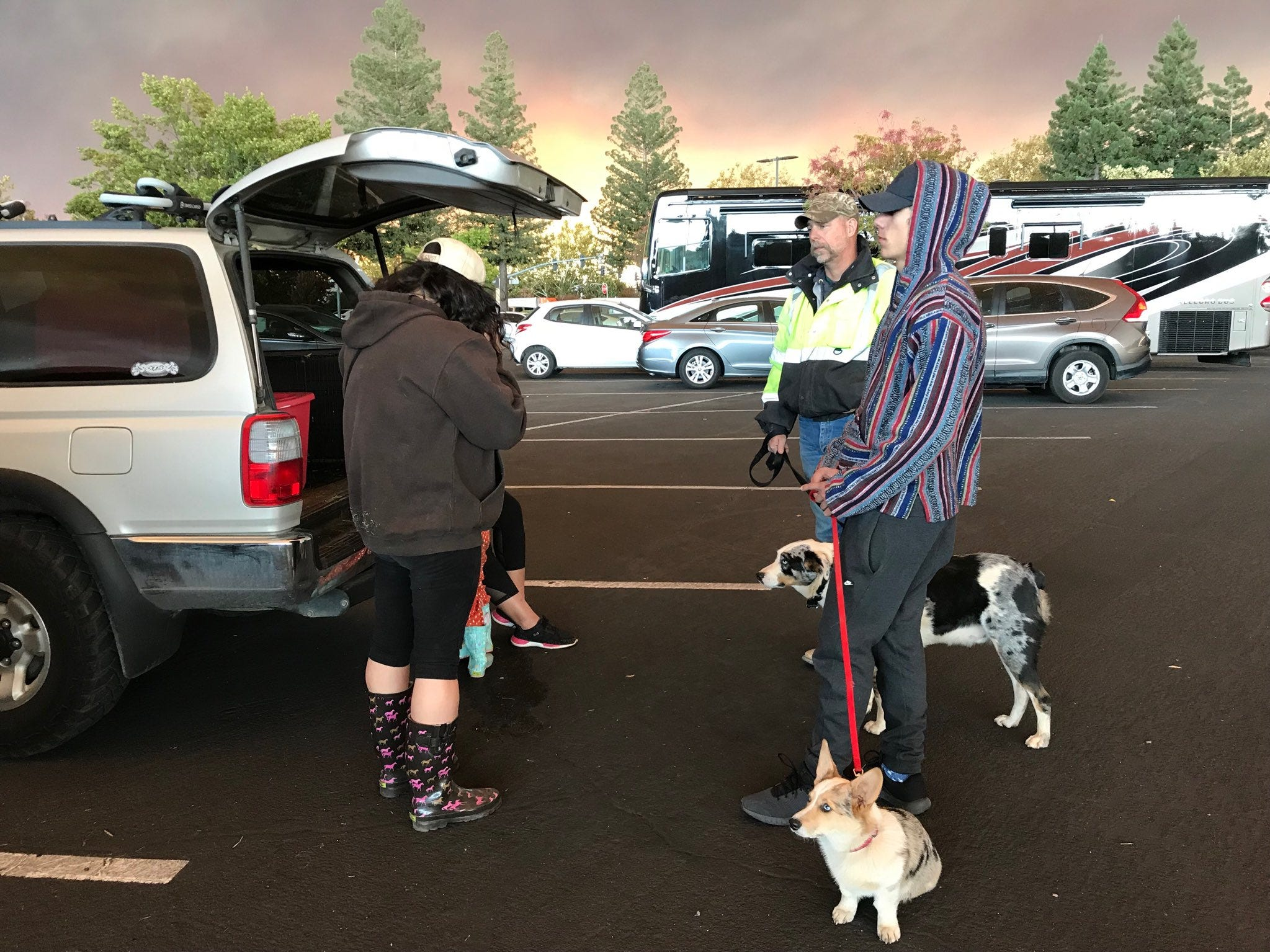 There are dozens of families in parking lots around Chico. They fled the Camp Fire in Paradise. The fire broke out about 6:30 a.m. on Thursday, Nov. 8, 2018.