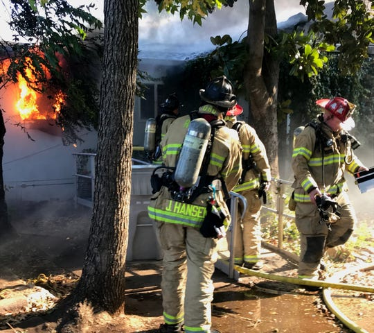 Redding firefighters fight two house fires on Nov. 8, 2018 on Blueview Street.