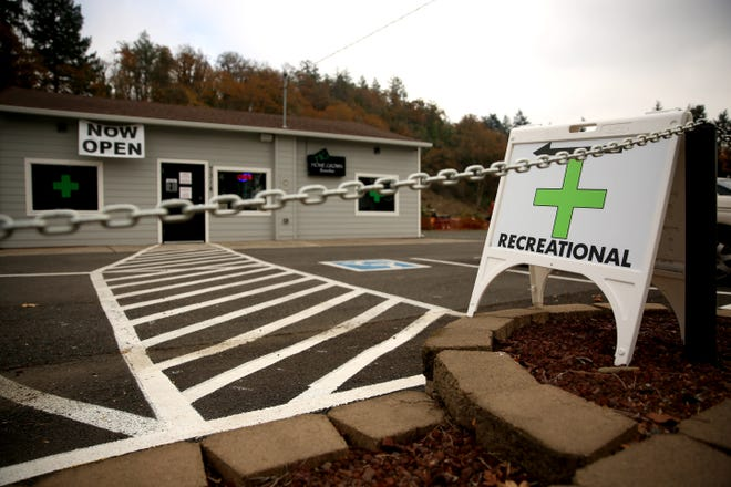 Home Grown Remedies, a marijuana dispensary, is pictured on Thursday, Nov. 8, 2018, in Turner. Voters game the dispensary a monopoly.