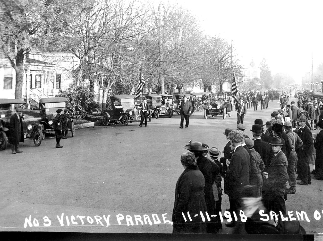 Parade celebrates end of Great War a century ago