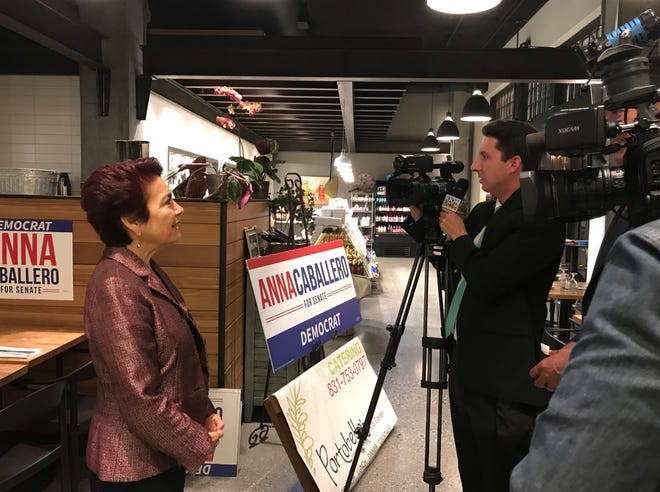 Anna Caballero speaks with media on election night