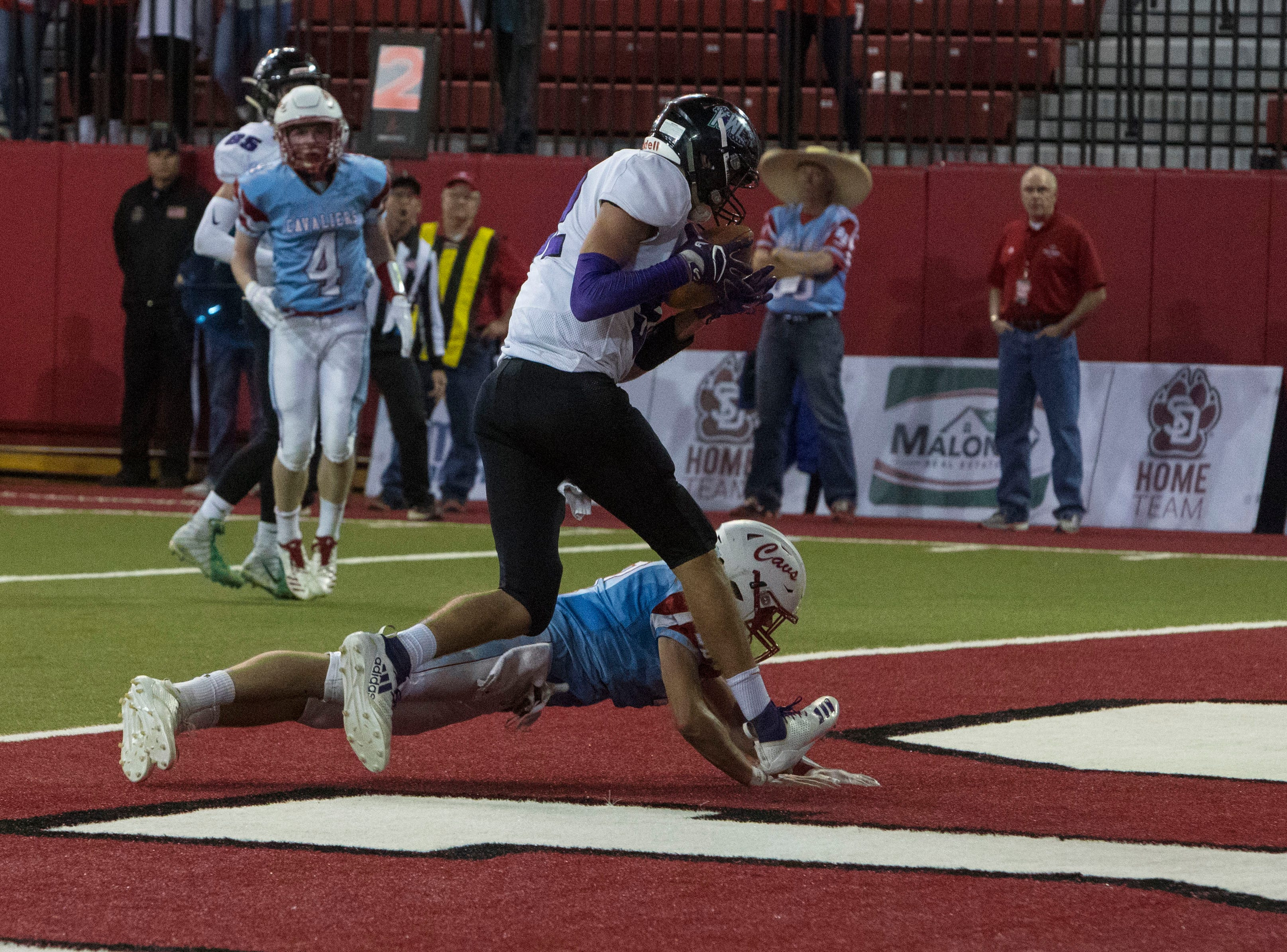 Kimball/White Lake's scores a touchdownduring a game against Bon Homme, Thursday, Nov. 8, 2018 at the DakotaDome in Vermillion, S.D.