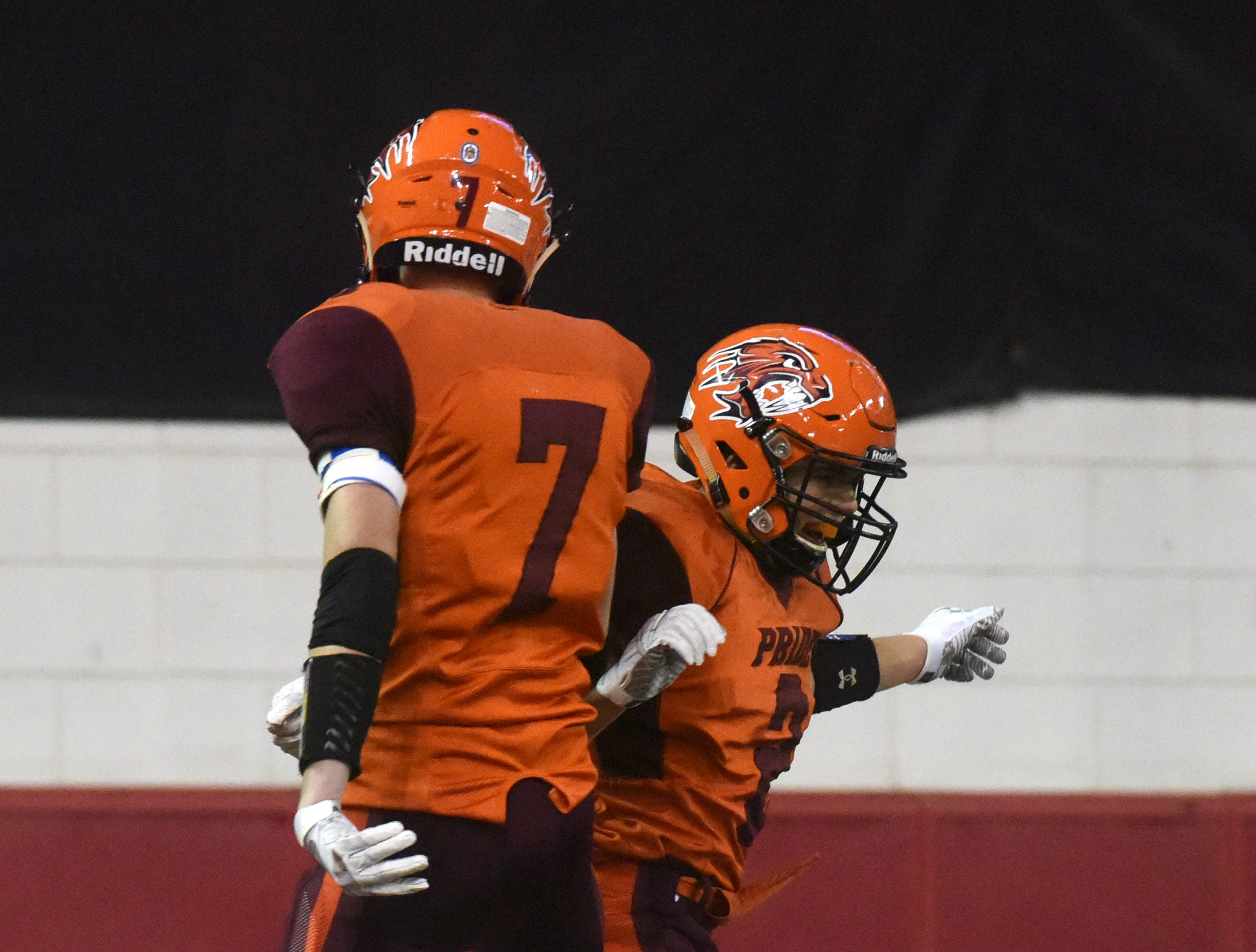 Canistota/Freeman's celebrates after scoring a touchdown during a game against Howard, Thursday, Nov. 8, 2018 at the DakotaDome in Vermillion, S.D.
