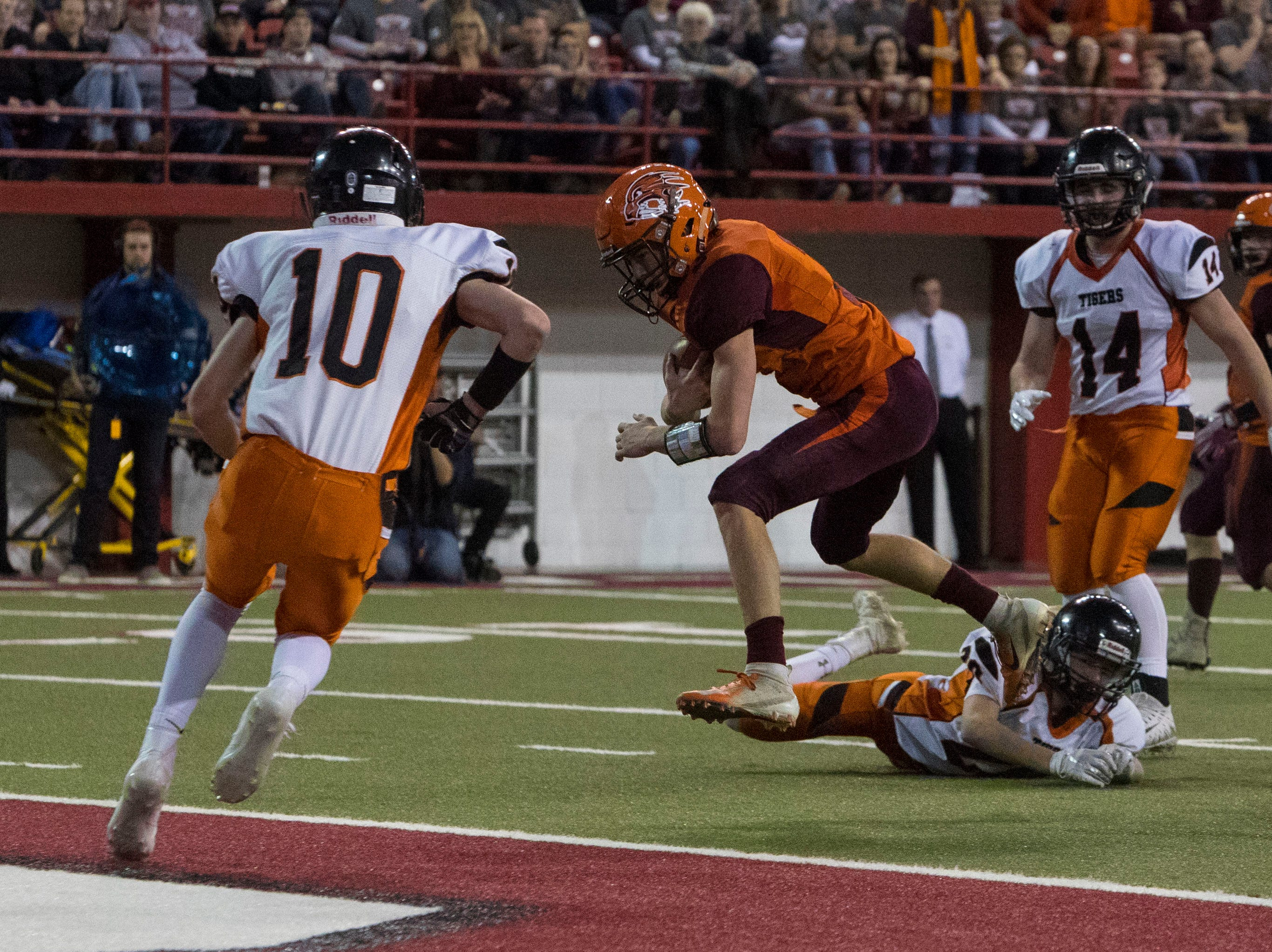 Canistota/Freeman player scores a touchdown during a game against Howard, Thursday, Nov. 8, 2018 at the DakotaDome in Vermillion, S.D.