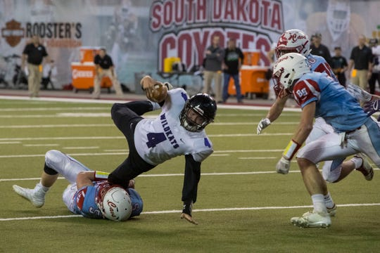 Kimball/White Lake's Javen Holan (4) gets tackled during a game against Bon Homme, Thursday, Nov. 8, 2018 at the DakotaDome in Vermillion, S.D.