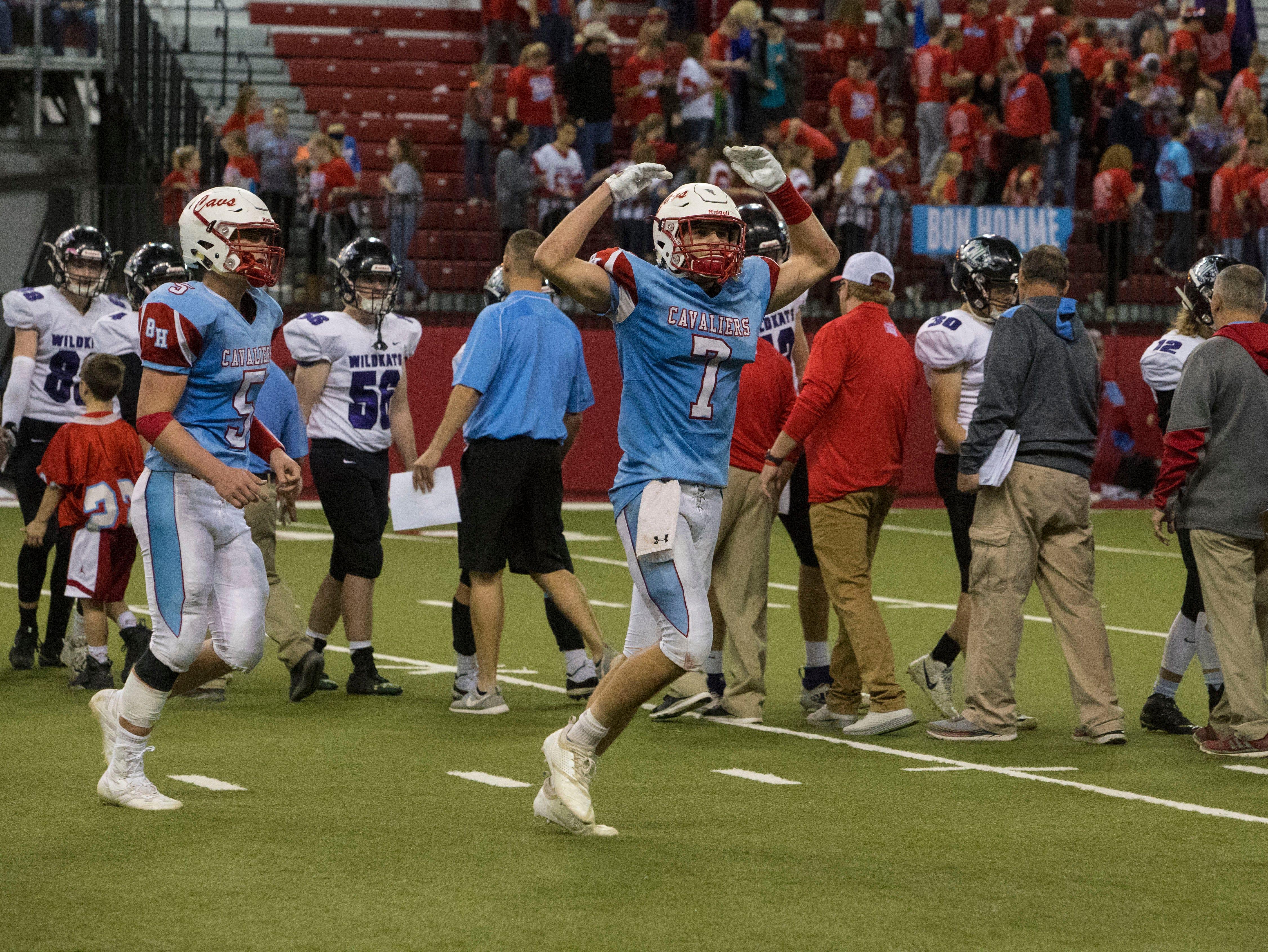 Joey Slama (7) celebrates after Bon Homme wins the class 9AA high school football championship, Thursday, Nov. 8, 2018 at the DakotaDome in Vermillion, S.D.
