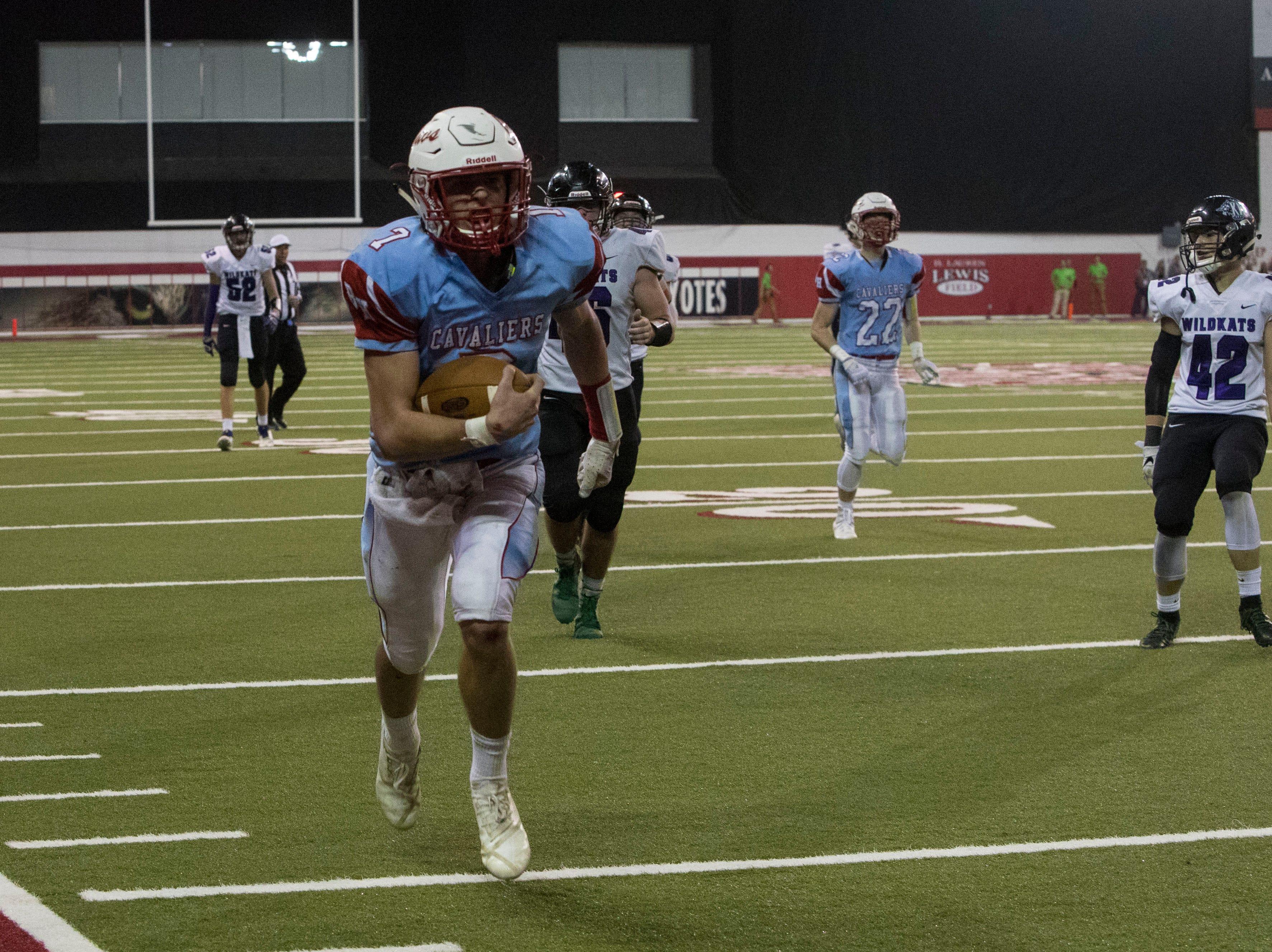 Bon Homme's Joey Slama (7) scores a touchdown during a game against Kimball/White Lake, Thursday, Nov. 8, 2018 at the DakotaDome in Vermillion, S.D.
