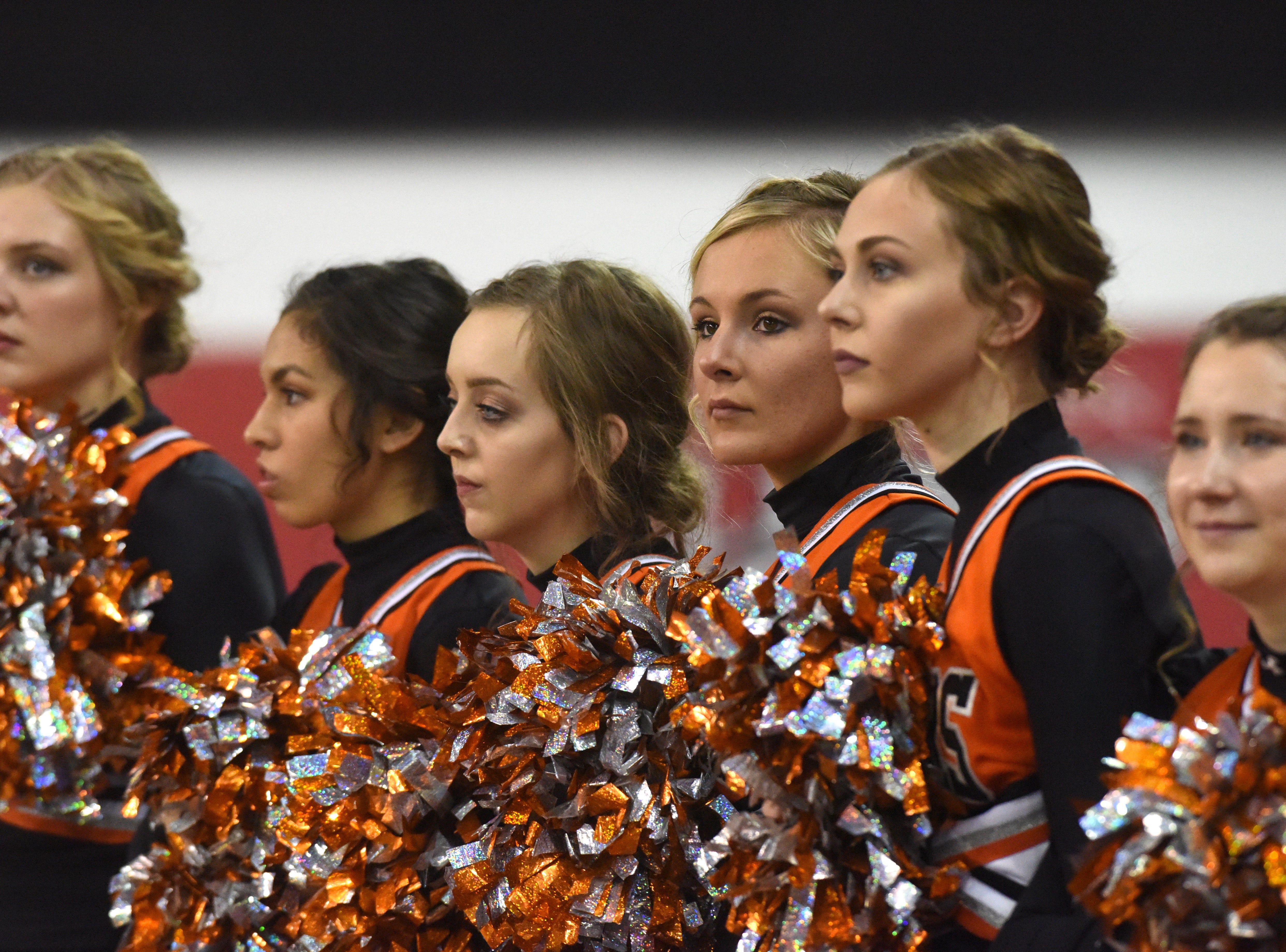 Canistota/Freeman cheerleaders watch the game against Howard, Thursday, Nov. 8, 2018 at the DakotaDome in Vermillion, S.D.