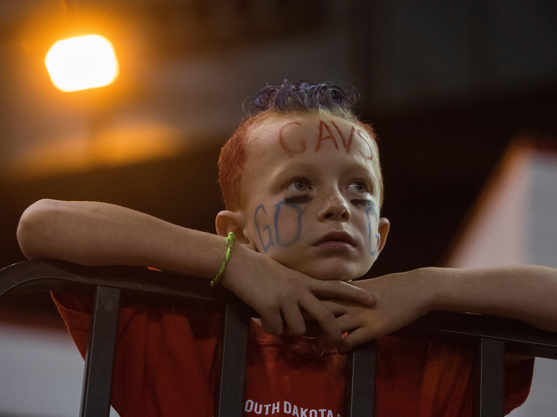 Bon Homme fan watches the game against Kimball/White Lake, Thursday, Nov. 8, 2018 at the DakotaDome in Vermillion, S.D.
