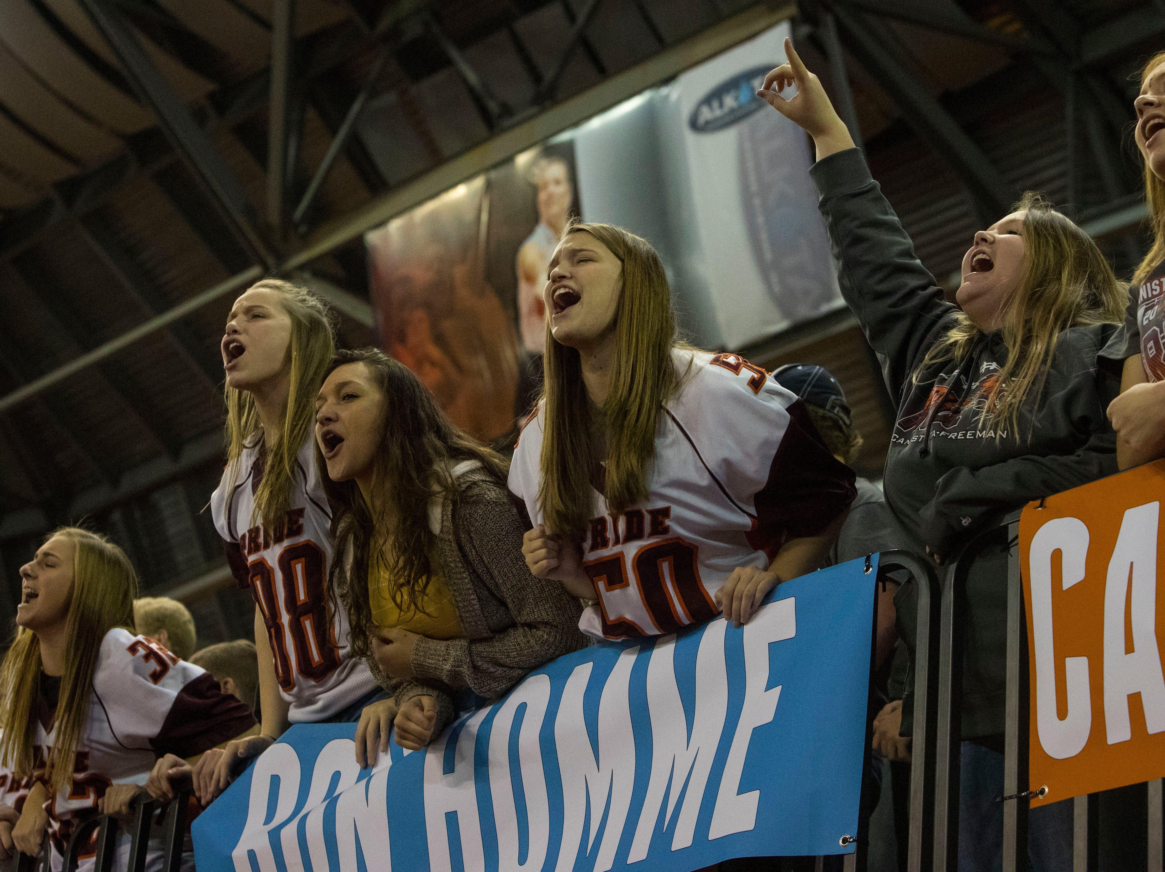 Howard fans react during a game against Canistota/Freeman, Thursday, Nov. 8, 2018 at the DakotaDome in Vermillion, S.D.