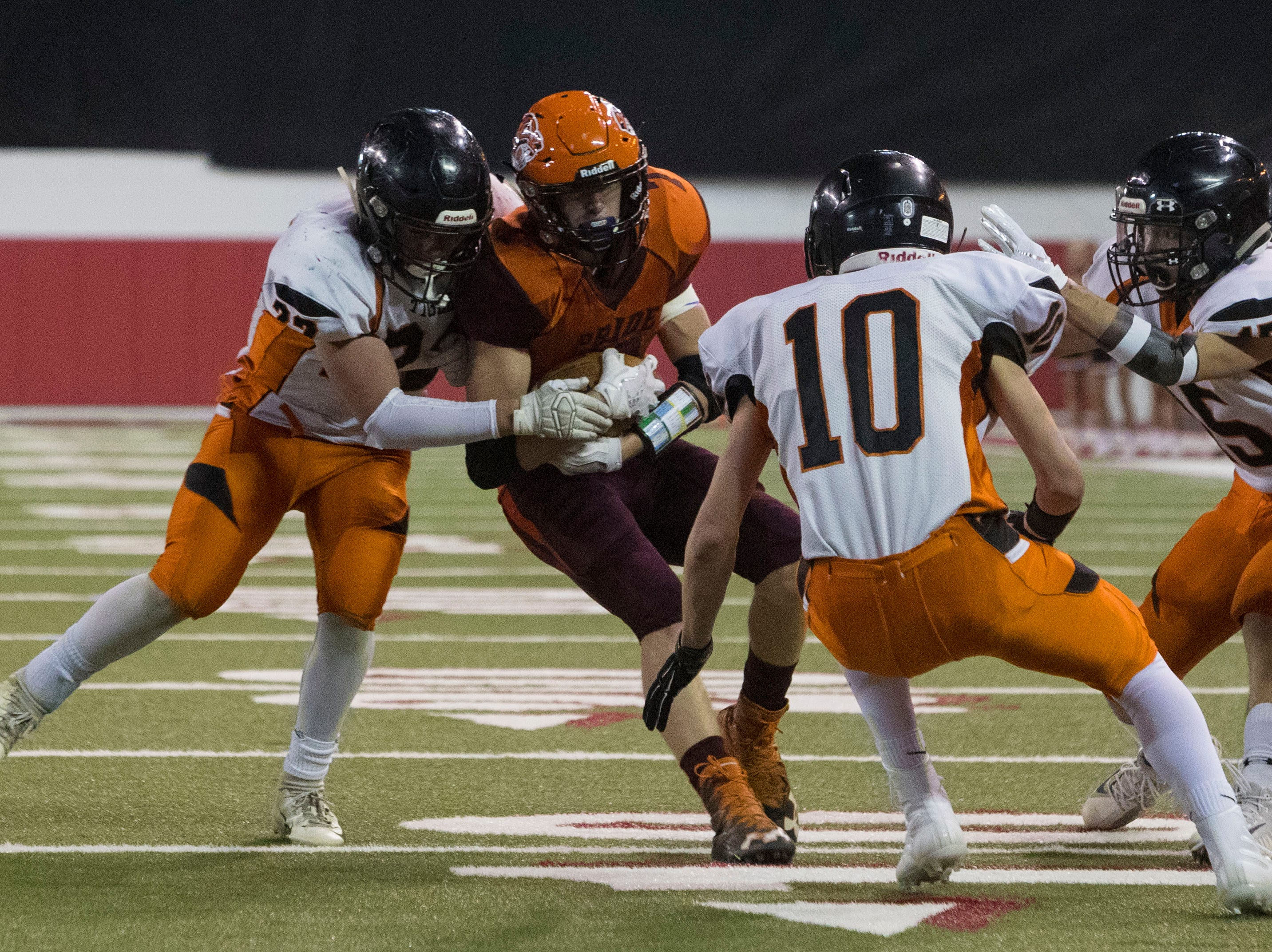Canistota/Freeman's Braxton Schmidt (7) gets tackled during a game against Howard, Thursday, Nov. 8, 2018 at the DakotaDome in Vermillion, S.D.