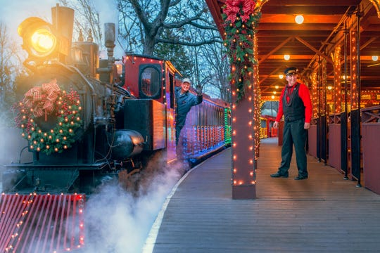 Enjoy the holiday lights from the train at Silver Dollar City during An Old Time Christmas.