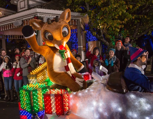 Rudolph leads the way at Rudolph's Holly Jolly Christmas Light Parade at Silver Dollar City.