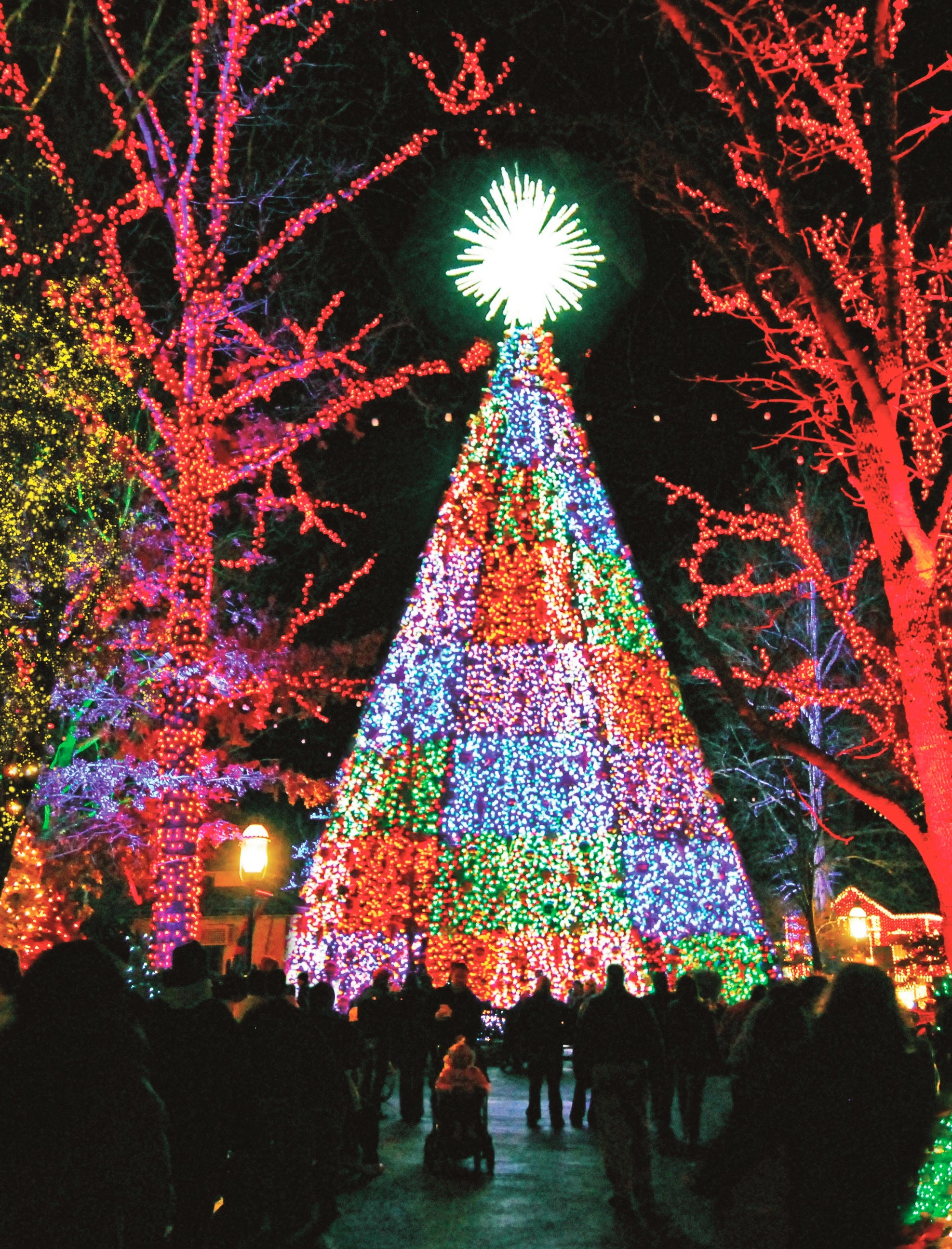 The 5-Story Special Effects Christmas Tree on the Square has lights that are synchronized down to one-hundredth of a second.