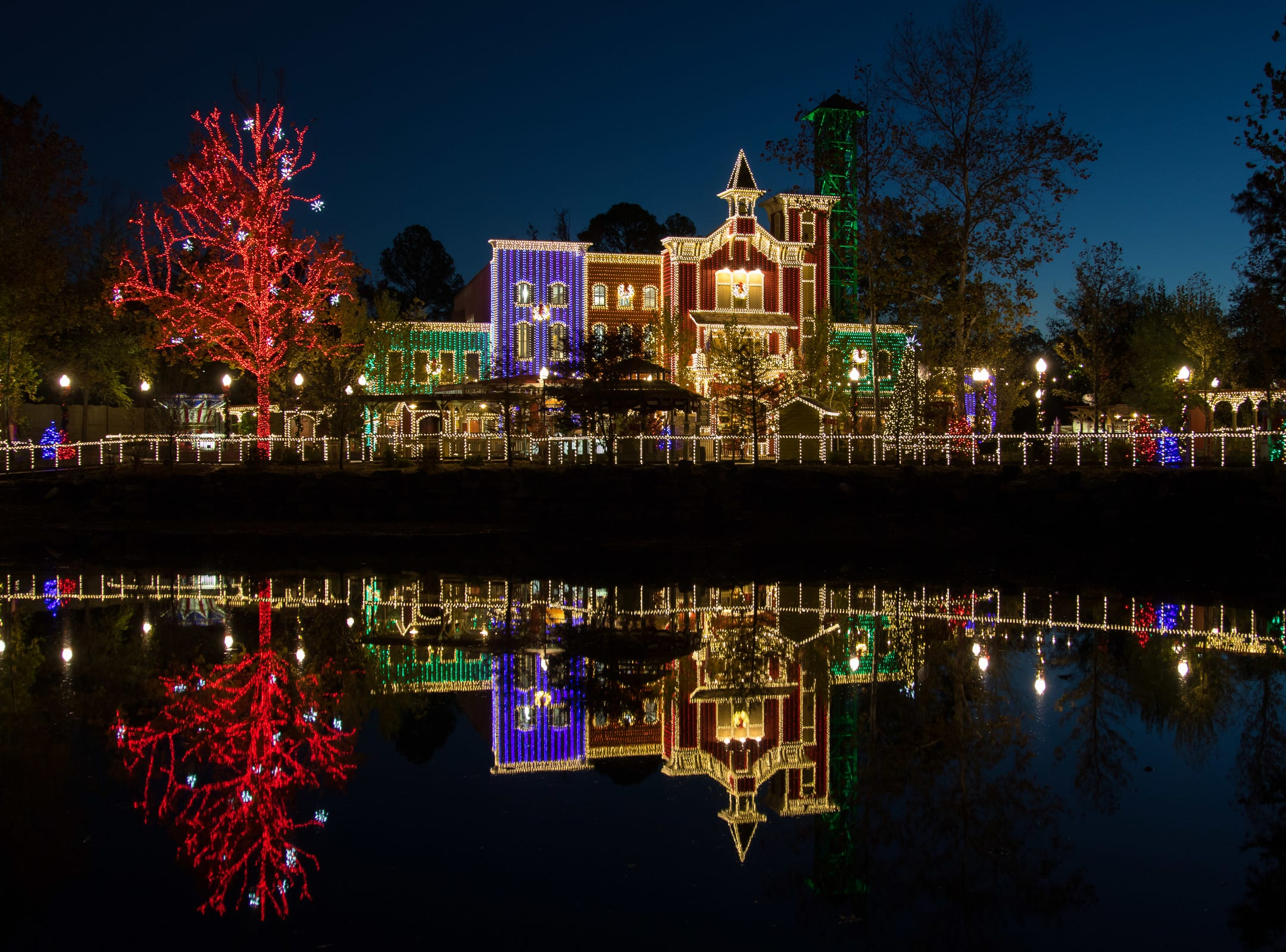 Fireman's Landing is lit up for Christmas at Silver Dollar City