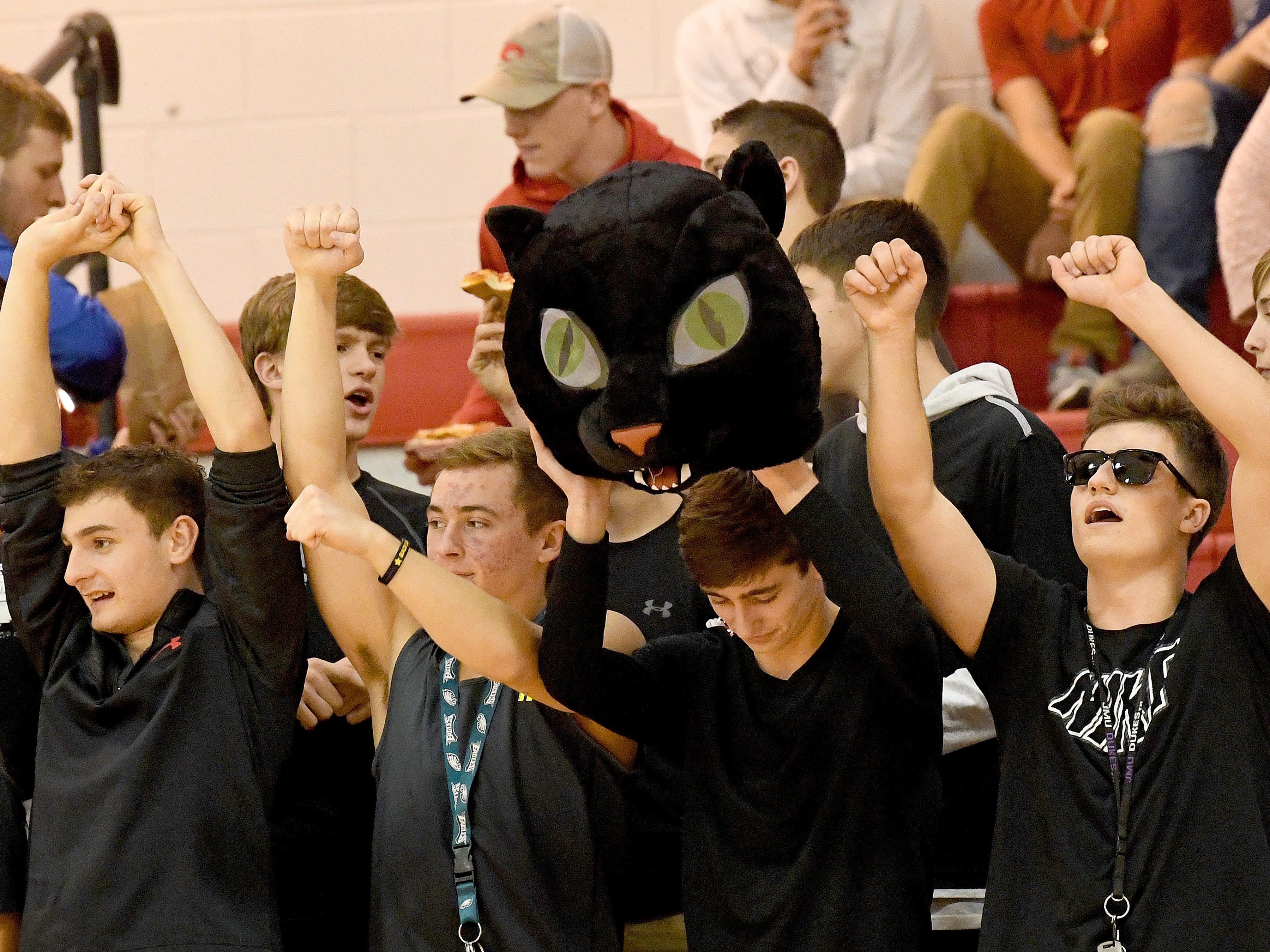 Riverheads fans cheer for their team during the Region 1B volleyball championship played in Greenville on Wednesday, Nov. 7, 2018.