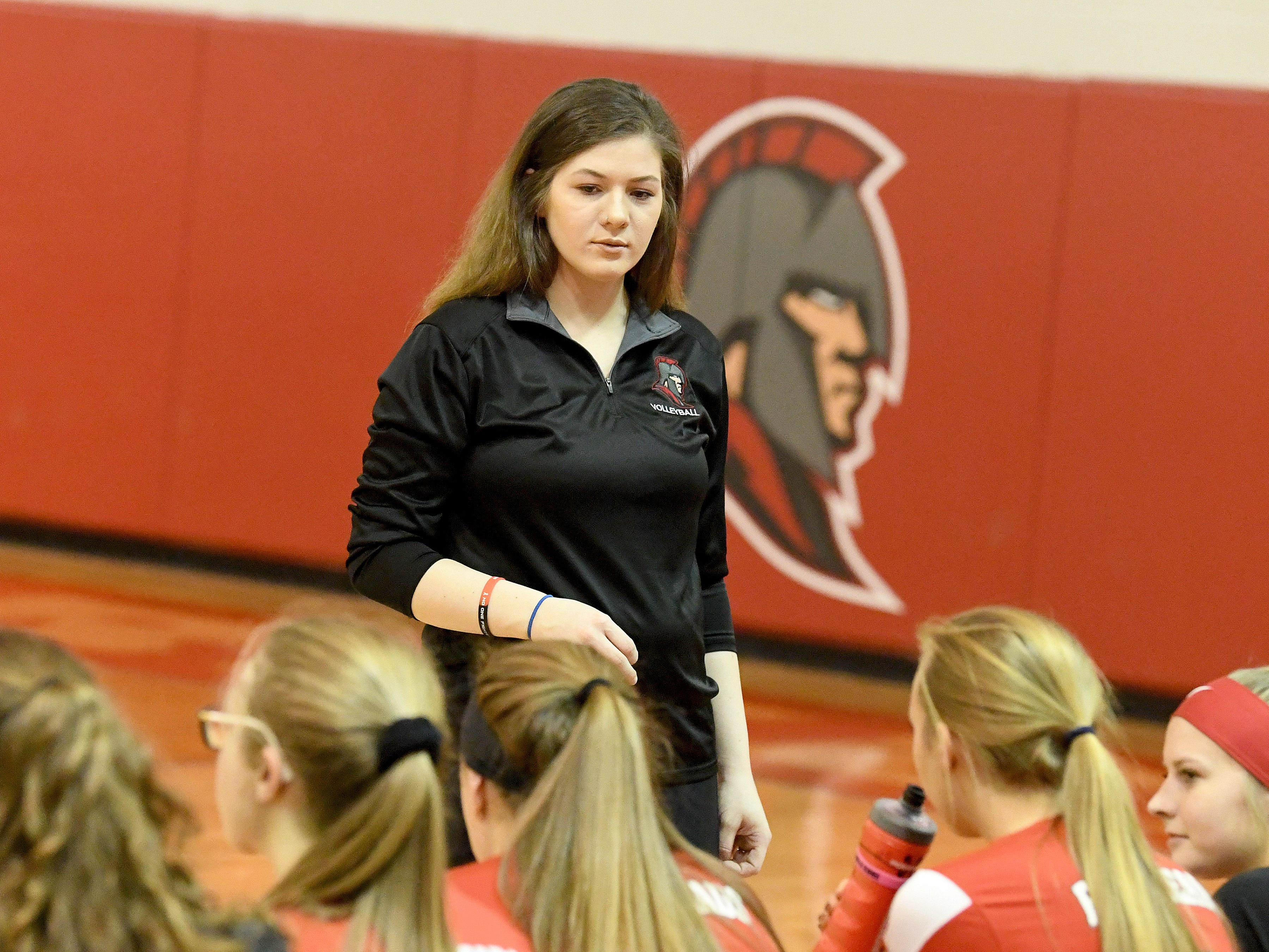 Riverheads' head coach Nyssa Stapleton looks to her team on the sidelines of the Region 1B volleyball championship played in Greenville on Wednesday, Nov. 7, 2018.