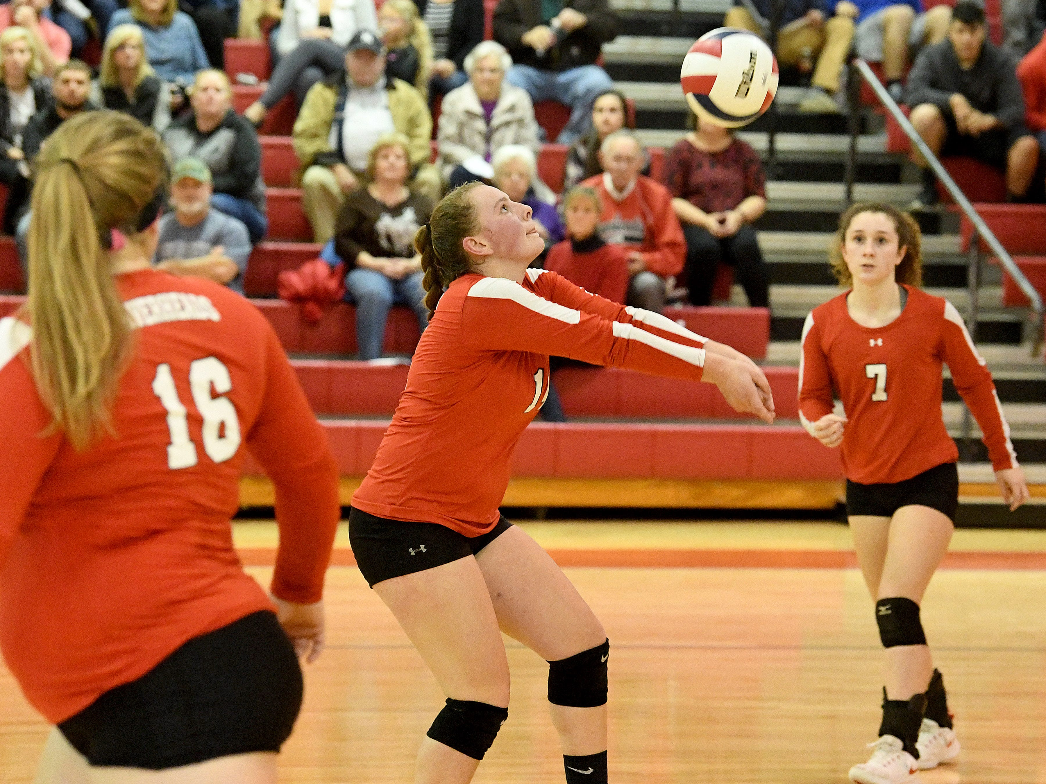 Riverheads' Dayton Moore bumps the ball during the Region 1B volleyball championship played in Greenville on Wednesday, Nov. 7, 2018.