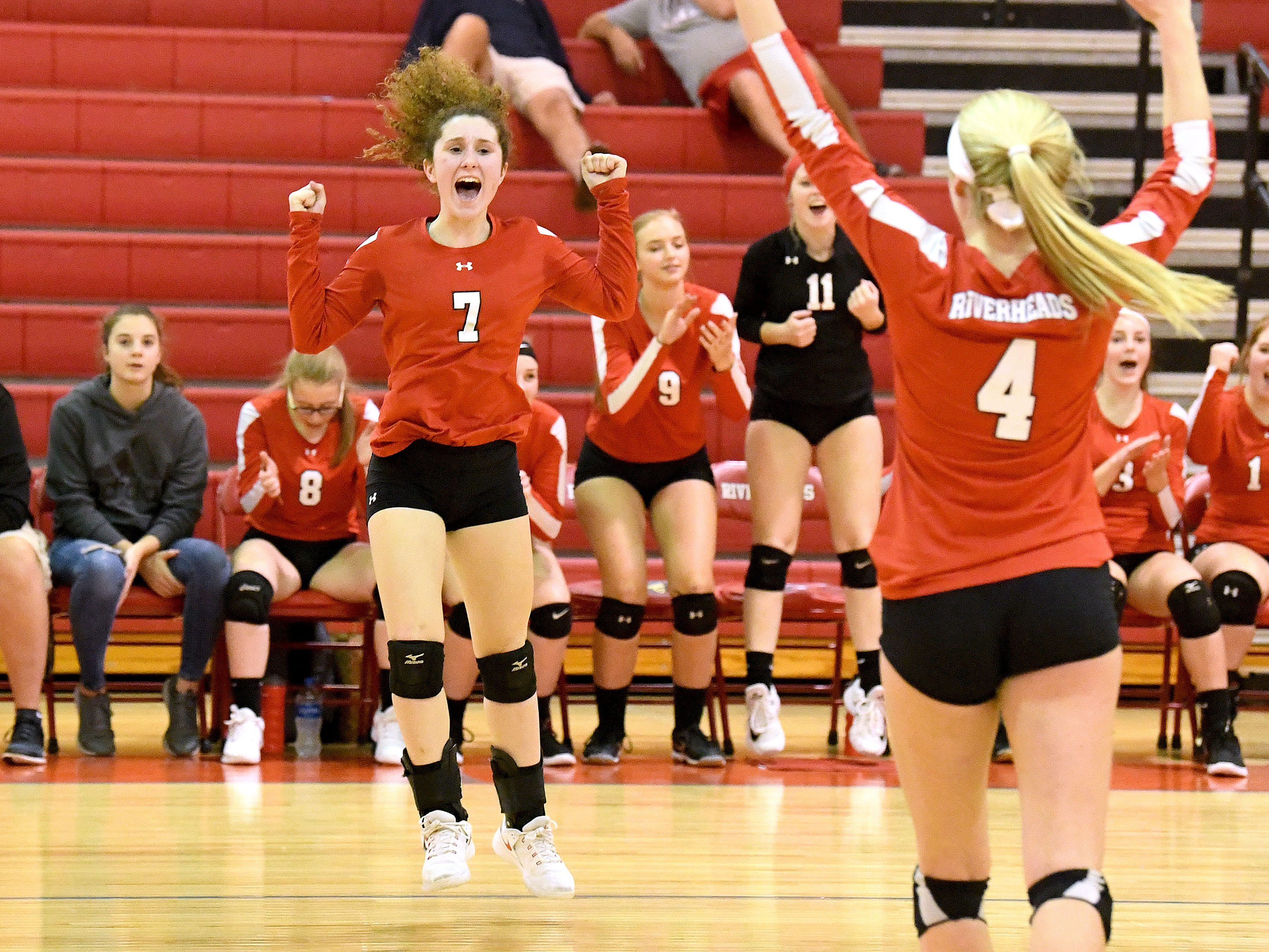 Riverheads' Gracie Fulton celebrates another point scored during the Region 1B volleyball championship played in Greenville on Wednesday, Nov. 7, 2018.
