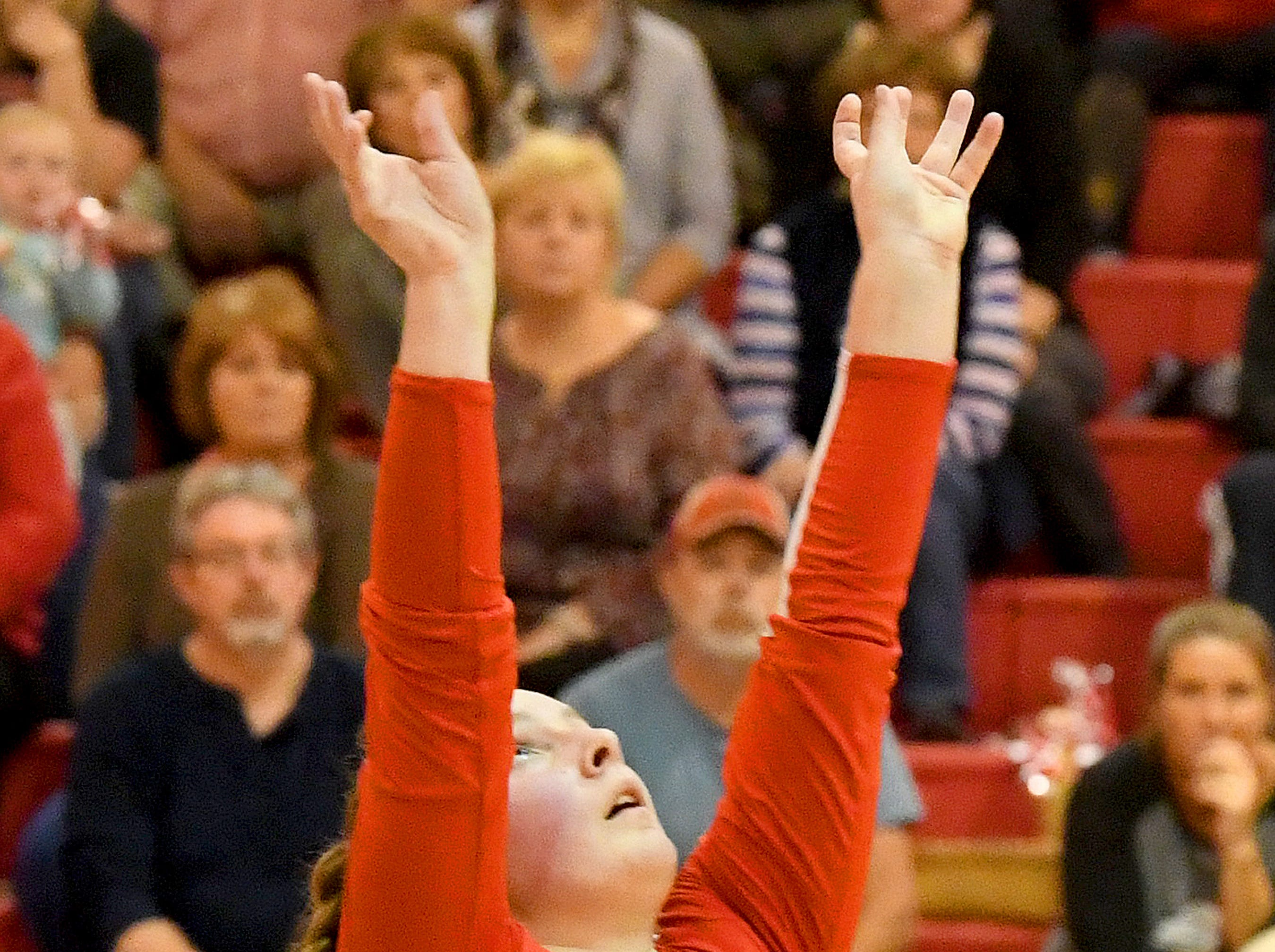 Riverheads' Dayton Moore sets the ball during the Region 1B volleyball championship played in Greenville on Wednesday, Nov. 7, 2018.