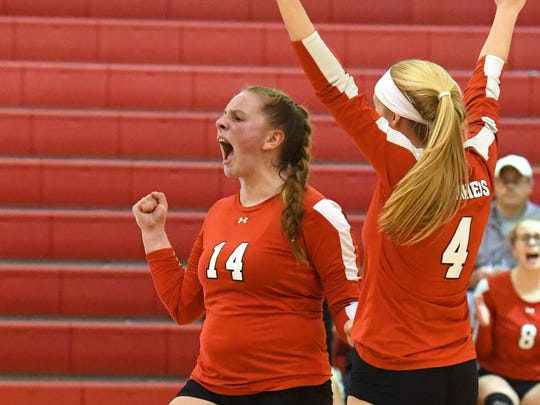 Riverheads' Dayton Moore celebrates a point scored during the Region 1B volleyball championship played in Greenville on Wednesday, Nov. 7, 2018.