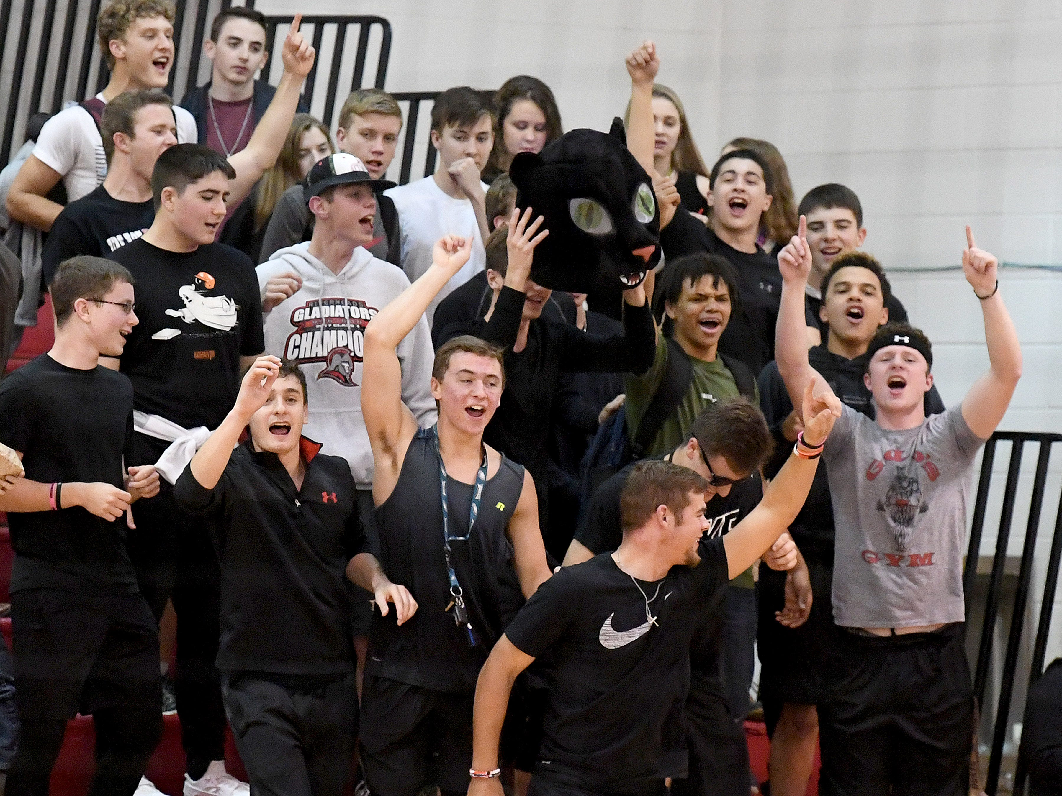 Riverheads fans celebrate after their team sweeps Altavista and wins the Region 1B volleyball championship in Greenville on Wednesday, Nov. 7, 2018.