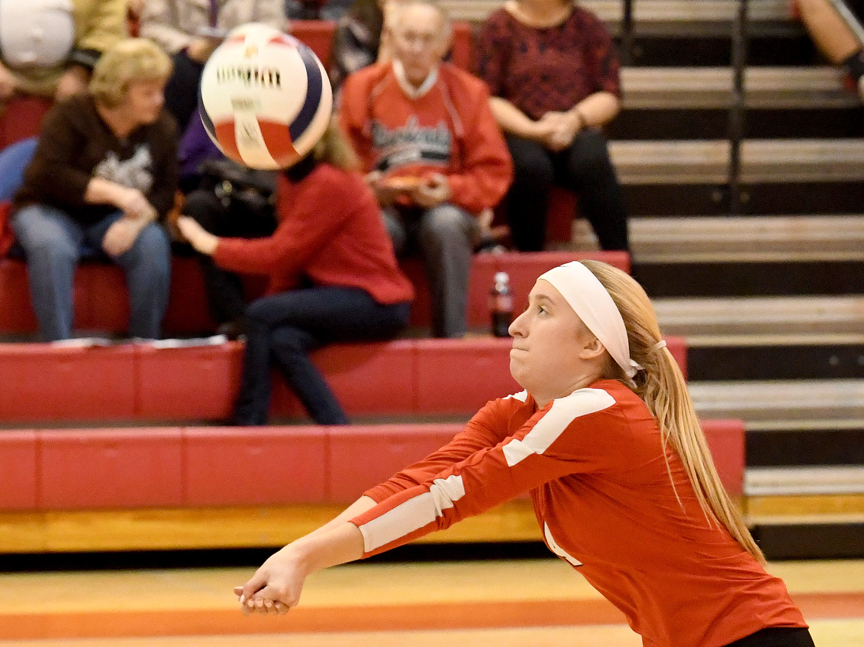 Riverheads' Emma Tomlinson bumps the ball during the Region 1B volleyball championship played in Greenville on Wednesday, Nov. 7, 2018.