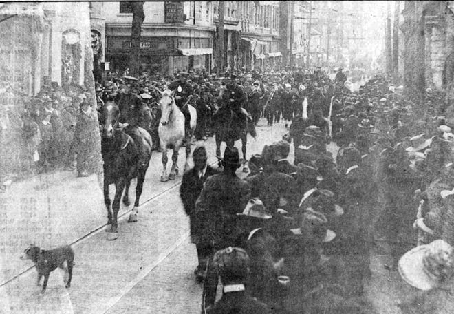Rare photo of the Nov. 11, 1918, impromptu parade staged by Staunton in celebration of the armistice that ended the Great War.