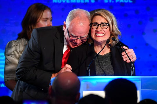 Governor-elect Tim Walz embraces running mate, Lt. Gov.-elect Peggy Flanagan, as they took the stage for their acceptance speech at the DFL headquarters election party at the Intercontinental Hotel in downtown St. Paul, Minn., Tuesday, Nov. 6.