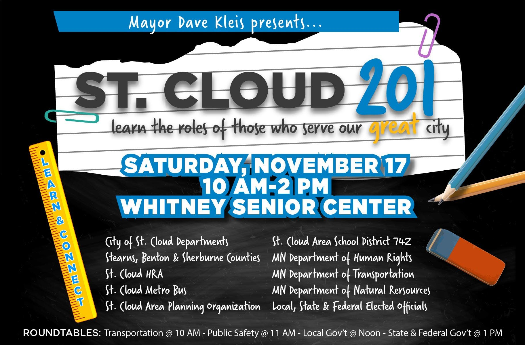 St. Cloud 201 is 10 a.m.-2 p.m. Saturday, Nov. 17 at Whitney Senior Center.