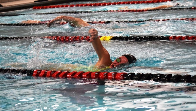 Stevens Point Area Senior High's Kennedy Gilbertson goes through a workout on Wednesday afternoon. The Panthers senior is the top-seeded individual in the 100 yard freestyle in Division 1 for the WIAA state girls swim meet this weekend in Madison.