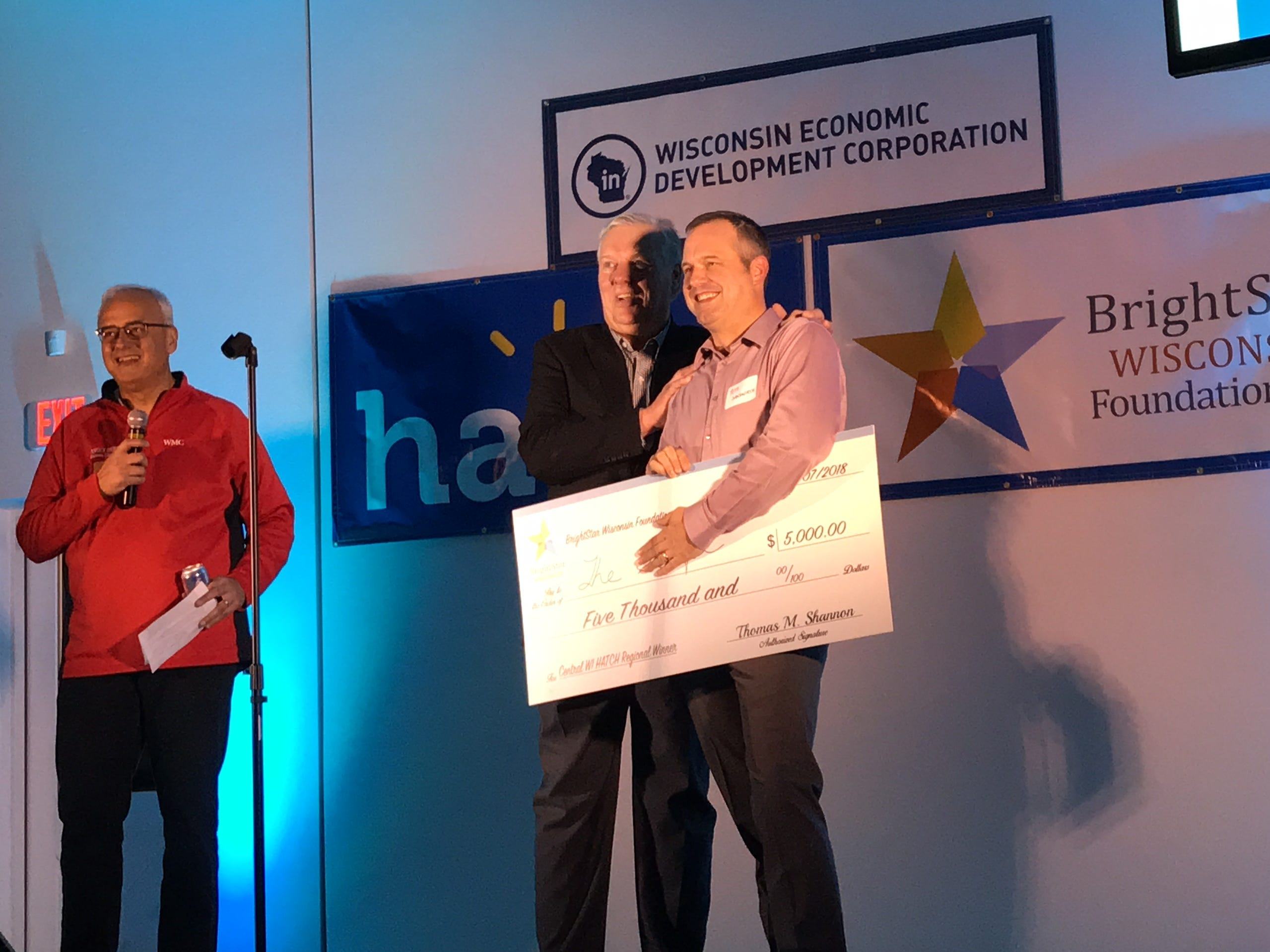 Pete Jungwirth won $5,000 for Amira Learning at the Hatch finale in central Wisconsin.