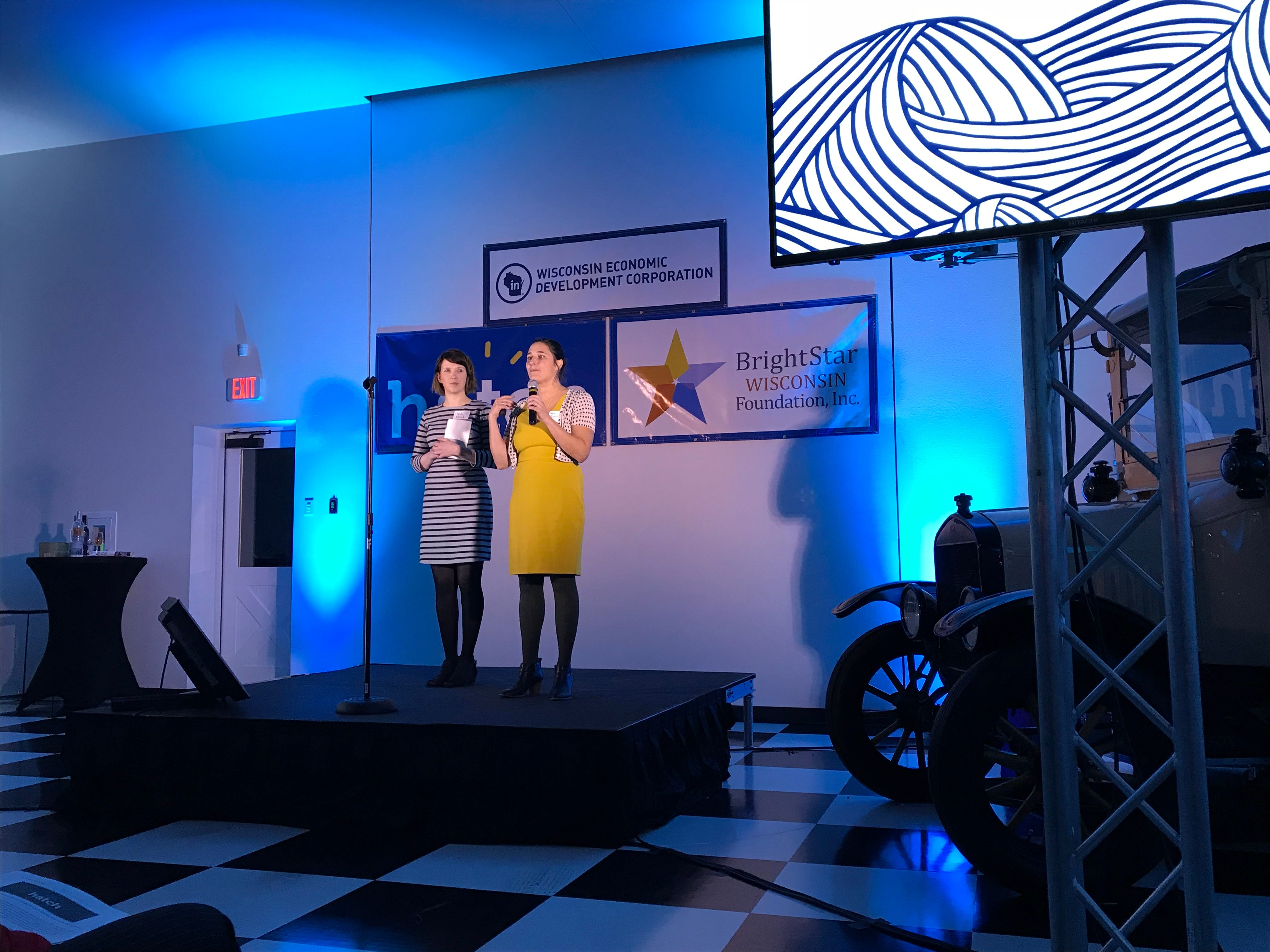 Mindy McCord and Layne Cozzolino pitched their product Siren Shrub at the Hatch finale in central Wisconsin.