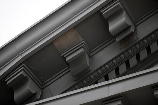 Parts of the decorative trim around the front of the Historic Capitol were damaged during Hurricane Michael last month. Kelly Sheet Metal has been contracted to repair the damages before the governor's inauguration ceremony in January. Due to the age of the building, parts required for the repair need to be custom manufactured.