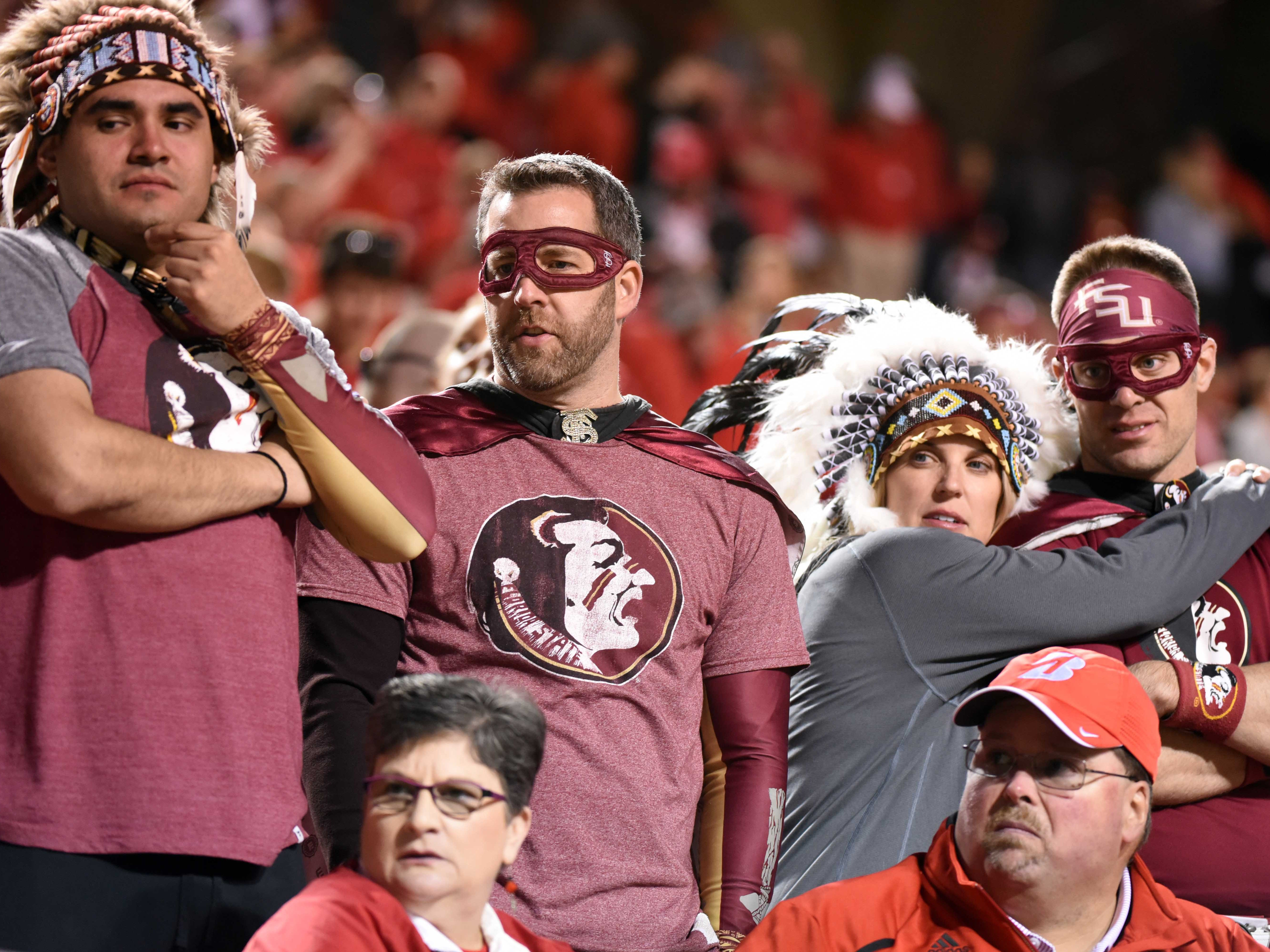 Nov 3, 2018; Raleigh, NC, USA; Florida State Seminoles fans look on during the second half against the North Carolina State Wolfpack at Carter-Finley Stadium.  The Wolfpack won 47-28.  Mandatory Credit: Rob Kinnan-USA TODAY Sports