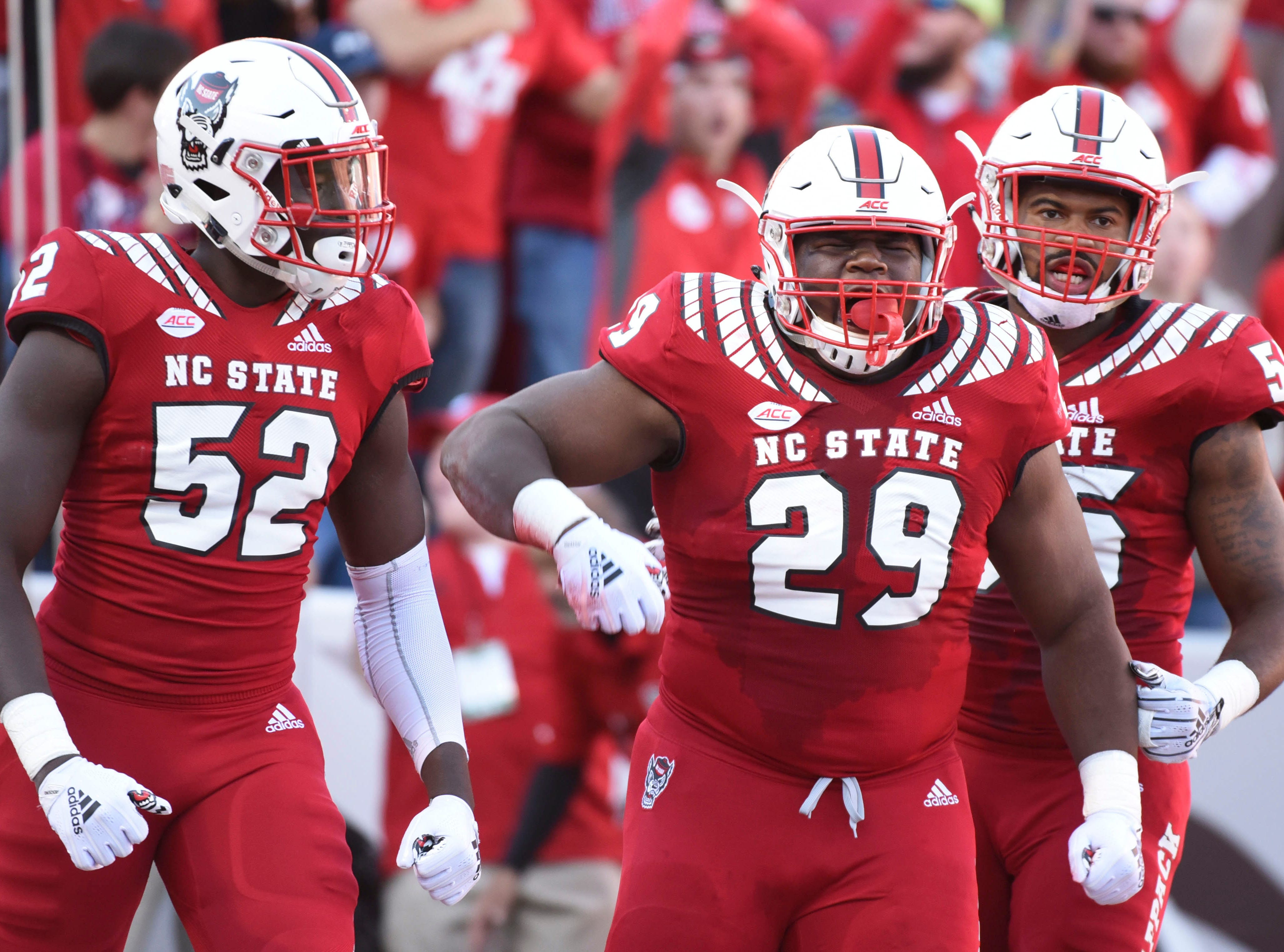 Nov 3, 2018; Raleigh, NC, USA; North Carolina State Wolfpack defensive tackle Alim McNeill (29) celebrates a sack during the first half against the Florida State Seminoles at Carter-Finley Stadium. Mandatory Credit: Rob Kinnan-USA TODAY Sports