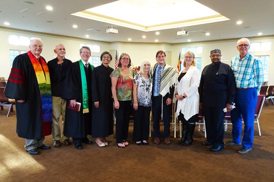 Members of the Interfaith Alliance of the Treasure Coast who participated in the 2017 Thanksgiving Service - Rev. Paul Johnson, Kevin McLaughlin, Rev. Jeff Bennett, Rev. Claudia Jimenez, Roberta Synal, Interfaith Alliance organizer Roberta Scott, Rabbi Matthew Durbin, Rev. Jude Denning, Imam Jabir Muhammad and George Via.