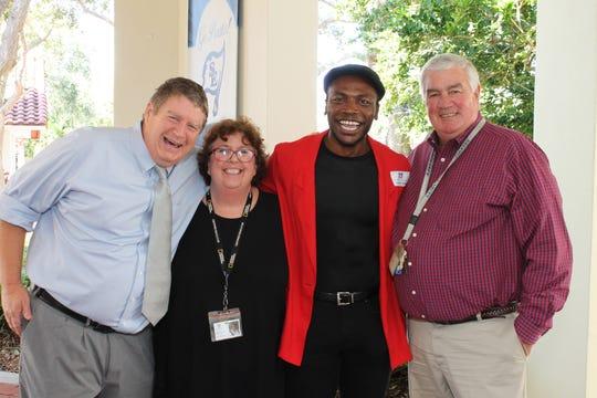 Jeremy & Maggie Baker, Jamari Johnson Williams and Bruce Wachter at St. Edward's.