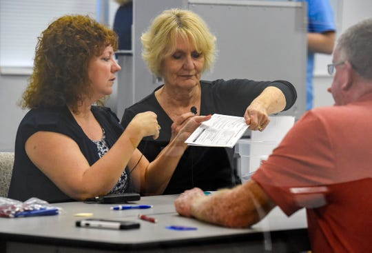 Members of the Martin County Elections Canvassing Board review provisional ballots Thursday, Nov. 8, 2018, at the Martin County Supervisor of Elections building on Martin Luther King Jr. Boulevard in downtown Stuart.